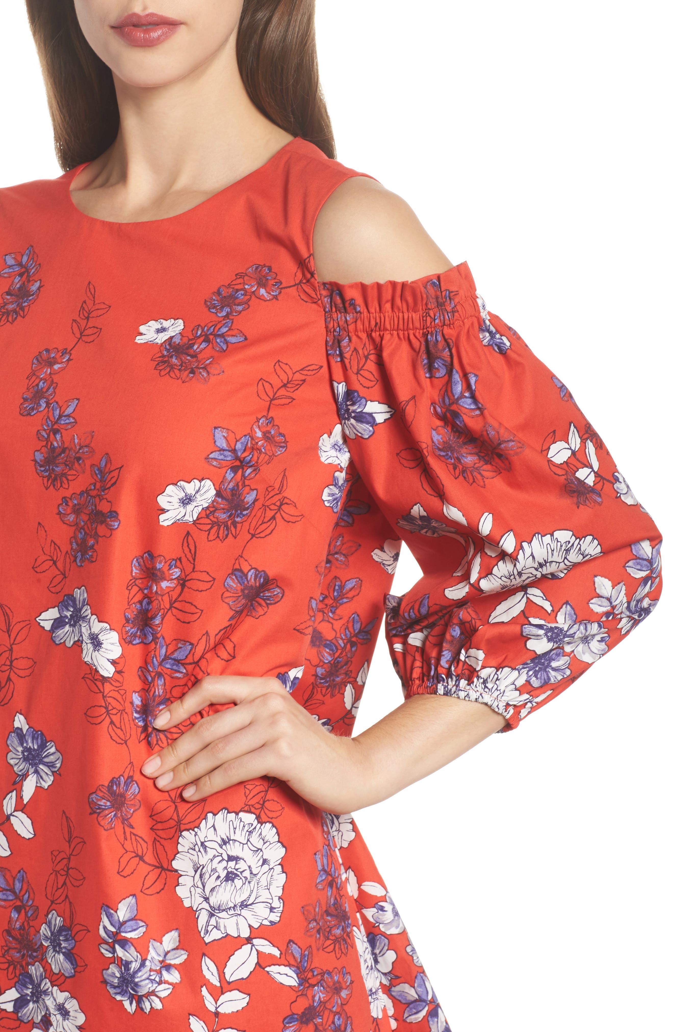 Print Sateen Cold Shoulder Shift Dress,                             Alternate thumbnail 4, color,                             Red/ Blue