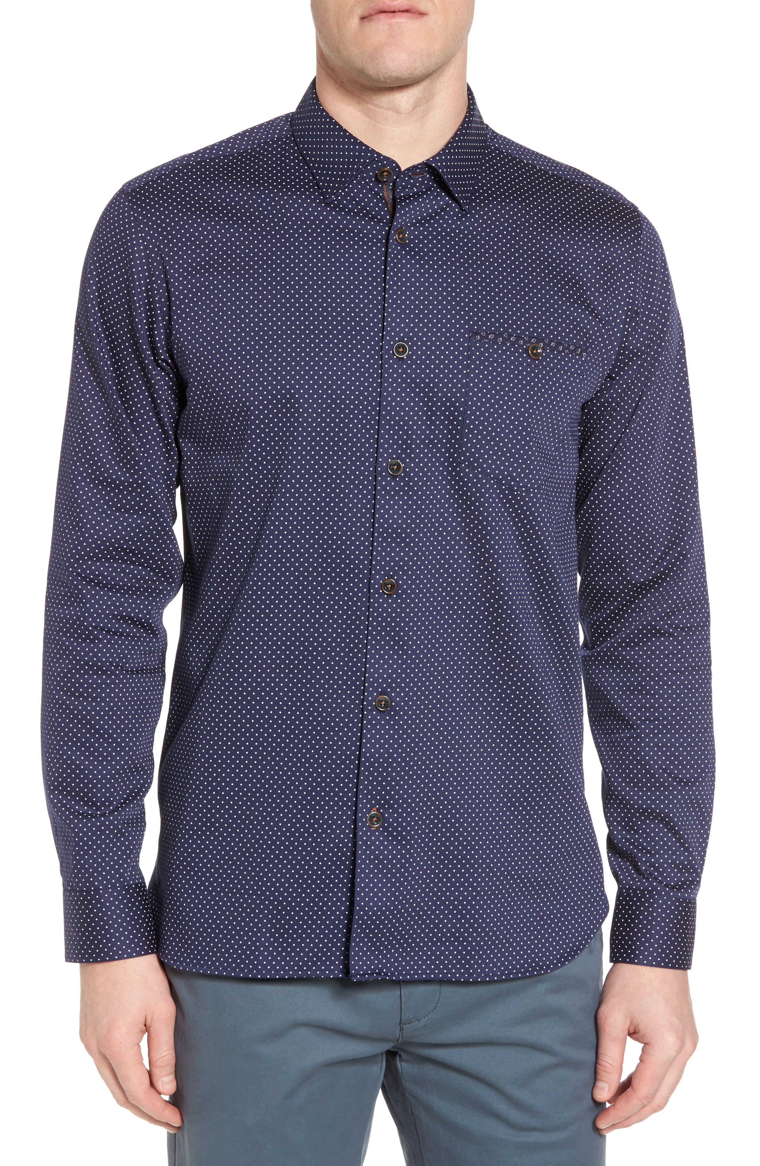 Skwere Trim Fit Sport Shirt,                         Main,                         color, Navy