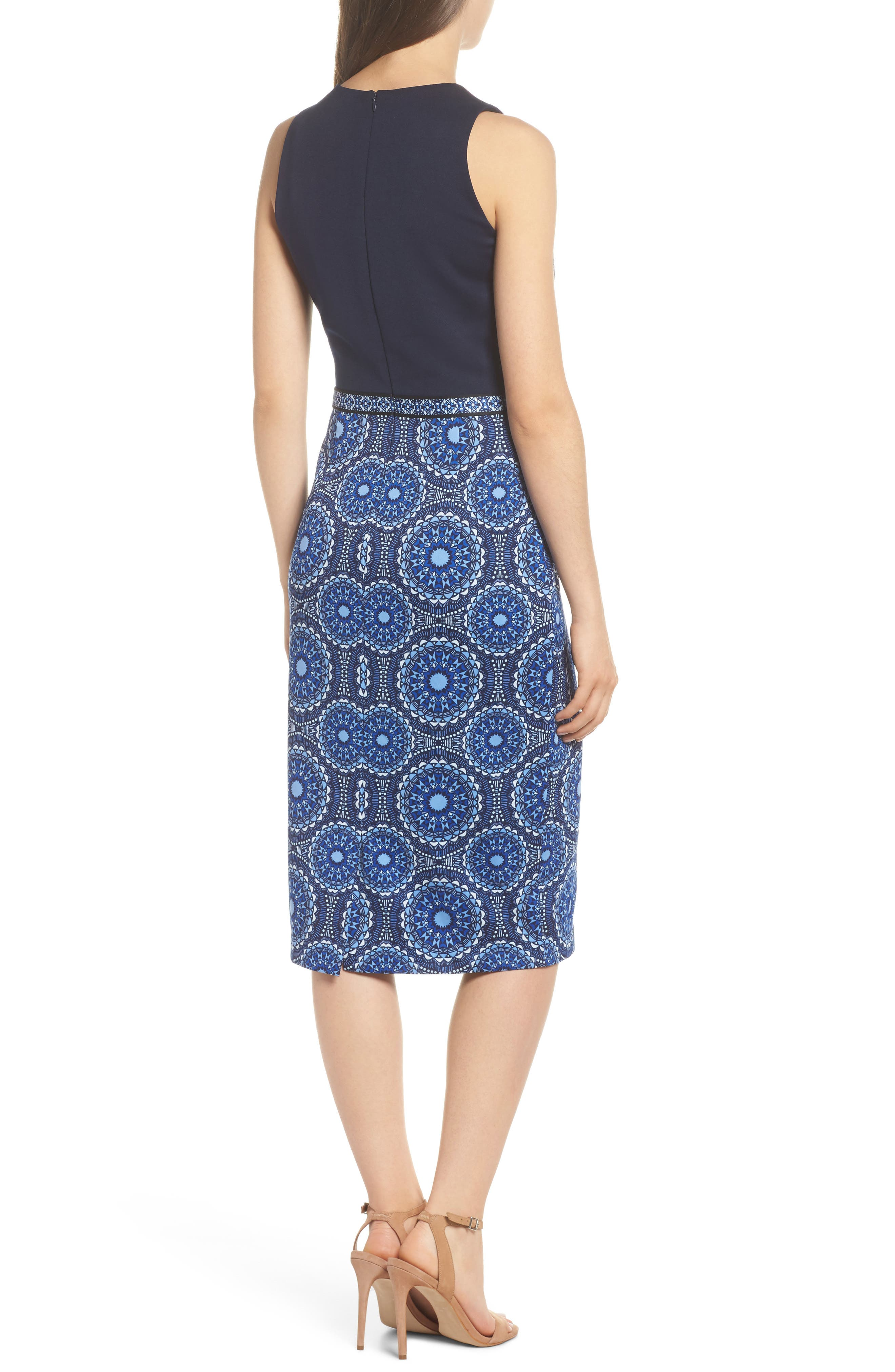 Scuba Sheath Dress,                             Alternate thumbnail 2, color,                             Soft White/ Sky Blue