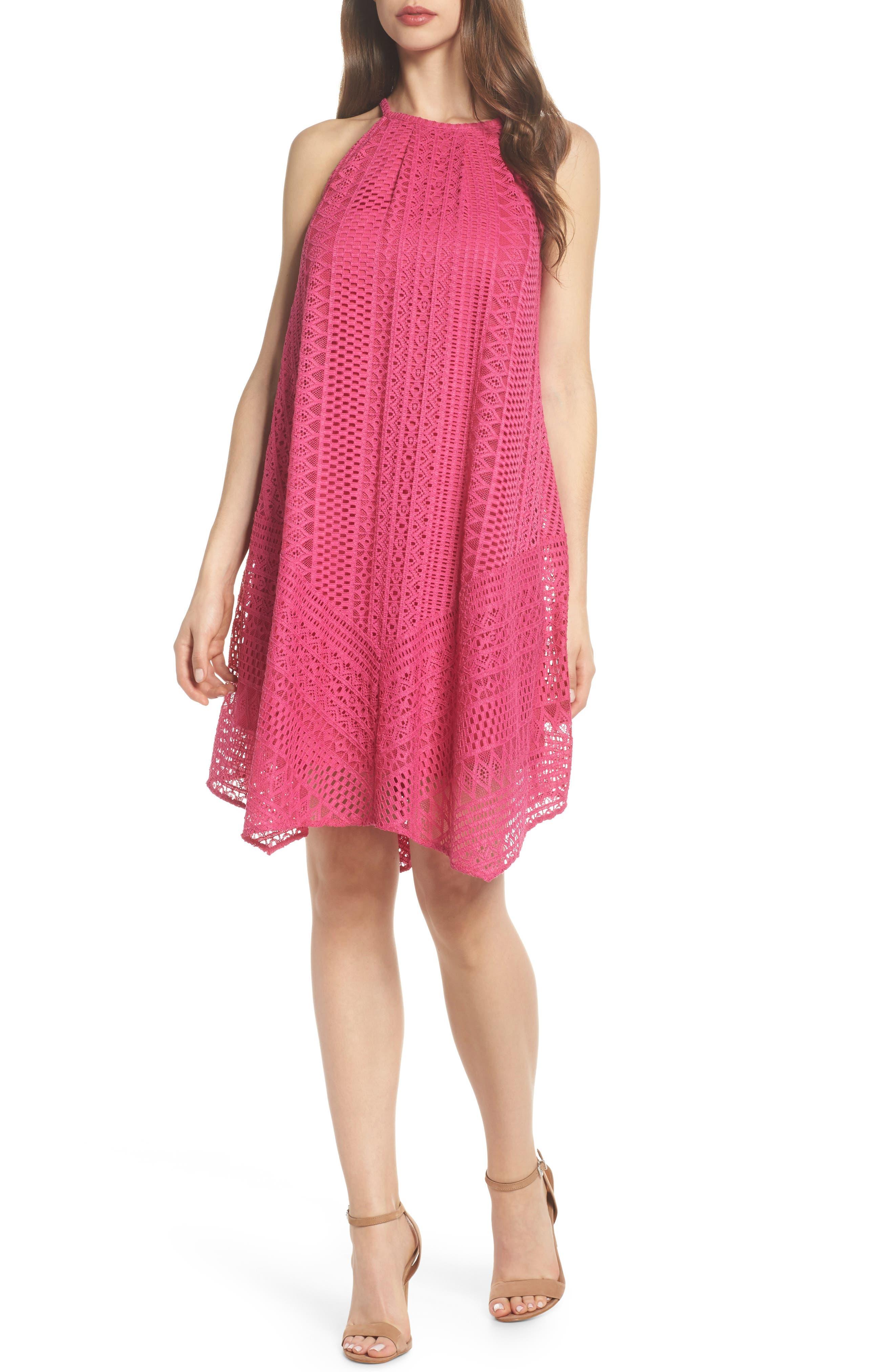 Geo Lace Trapeze Dress,                         Main,                         color, Pink