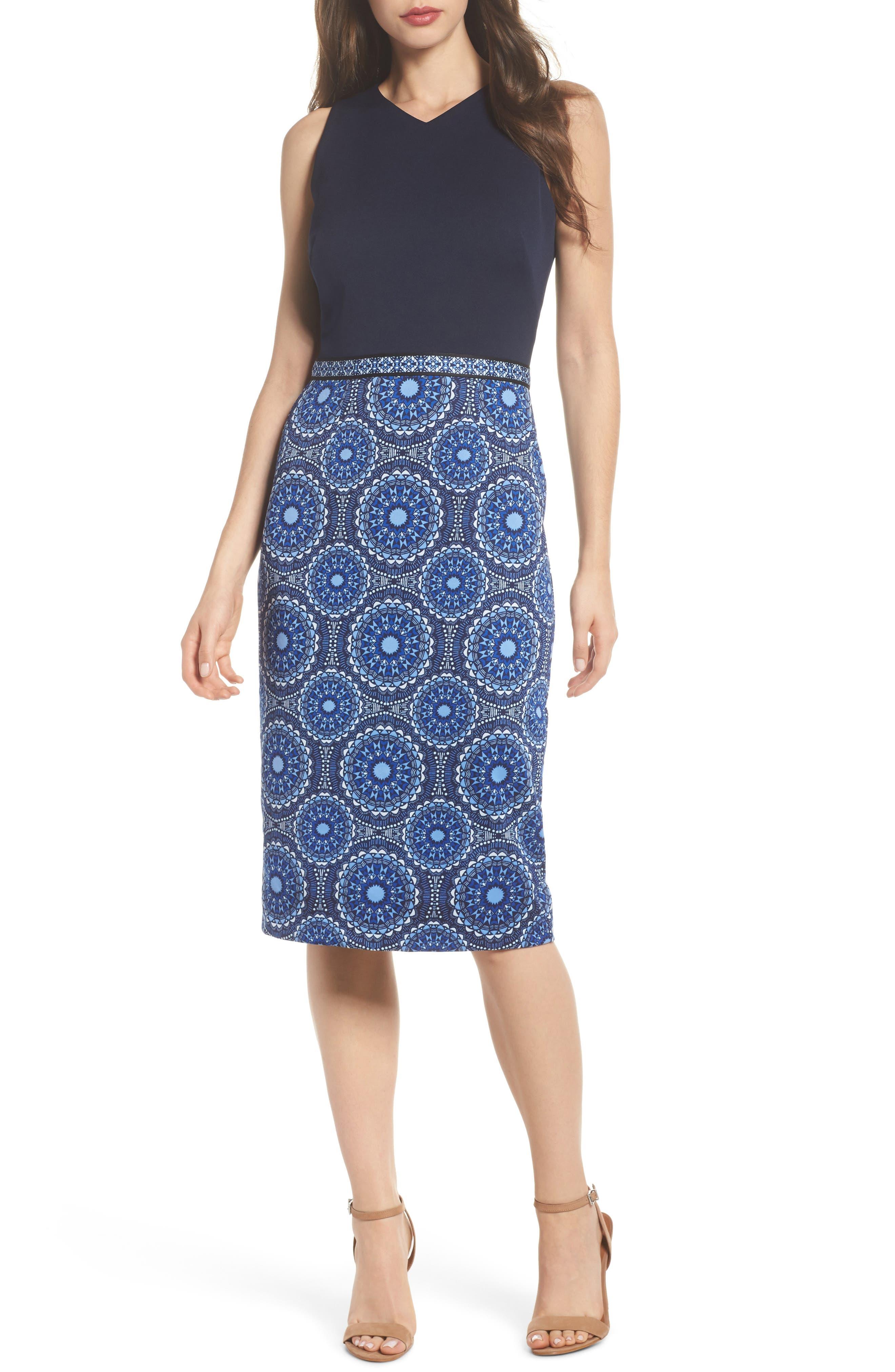 Scuba Sheath Dress,                         Main,                         color, Soft White/ Sky Blue