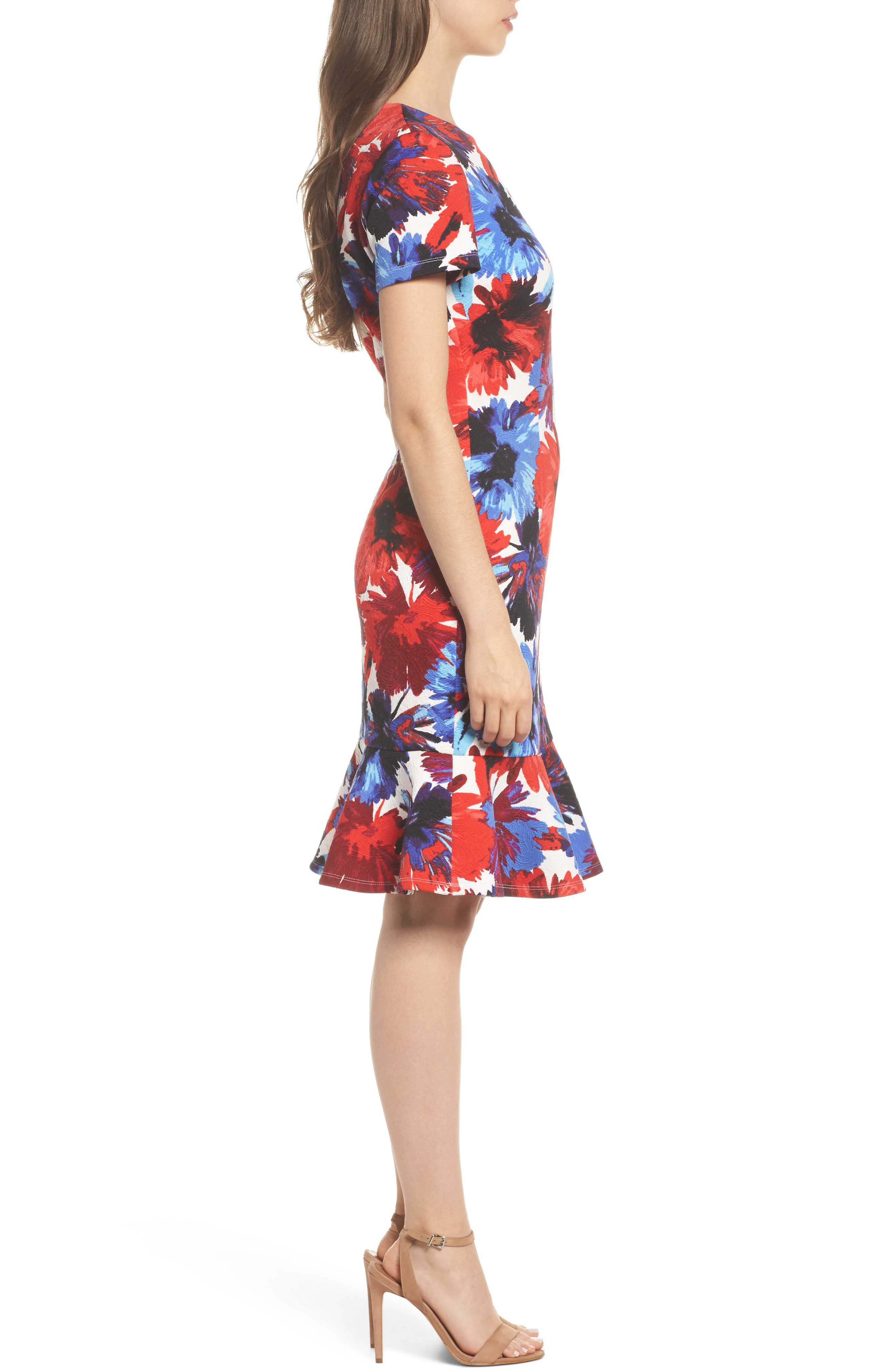 Flounce Dress,                             Alternate thumbnail 3, color,                             White/ Red
