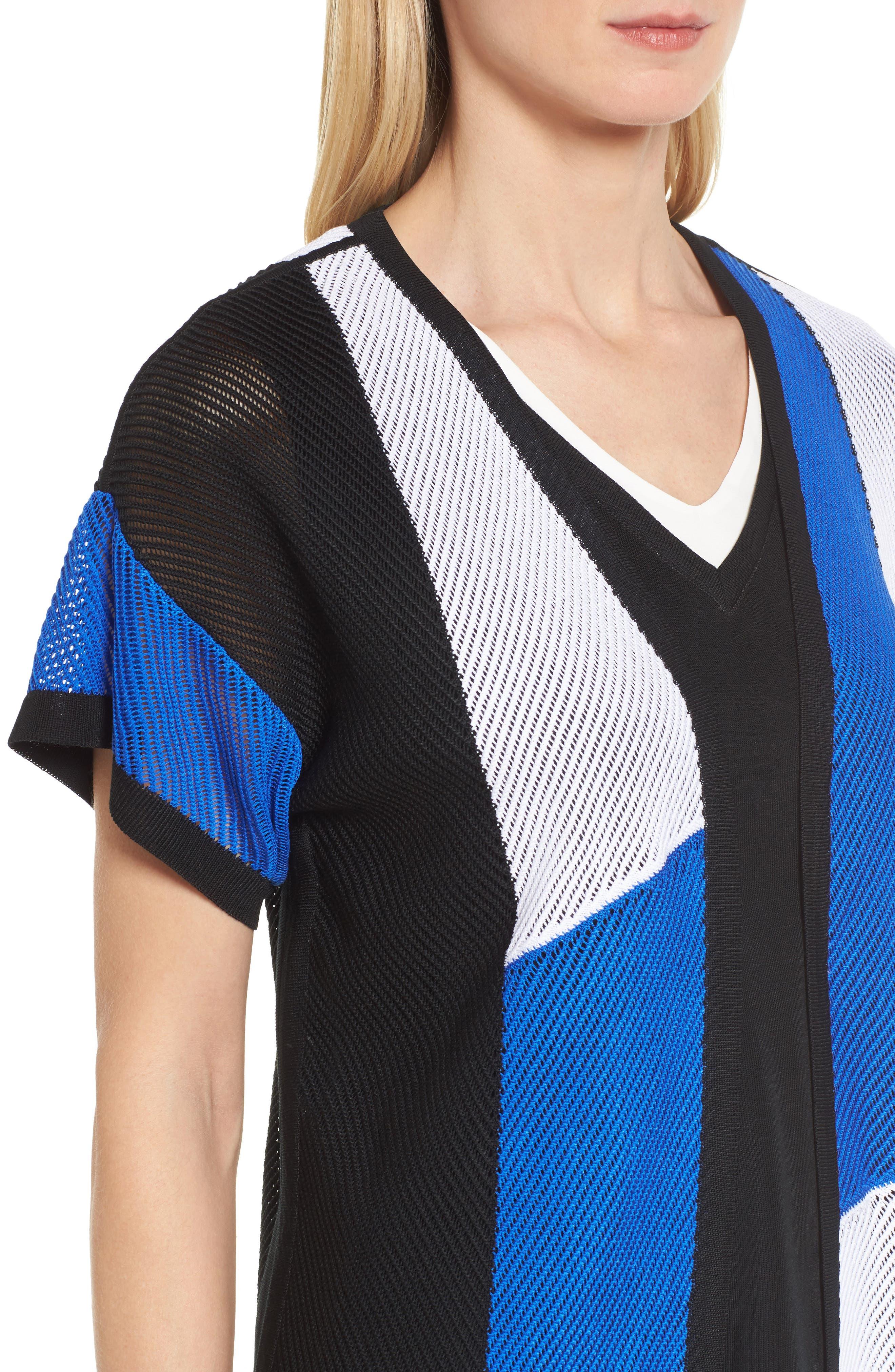 Colorblock Short Sleeve Cardigan,                             Alternate thumbnail 4, color,                             White/ Black/ Patriot Blue