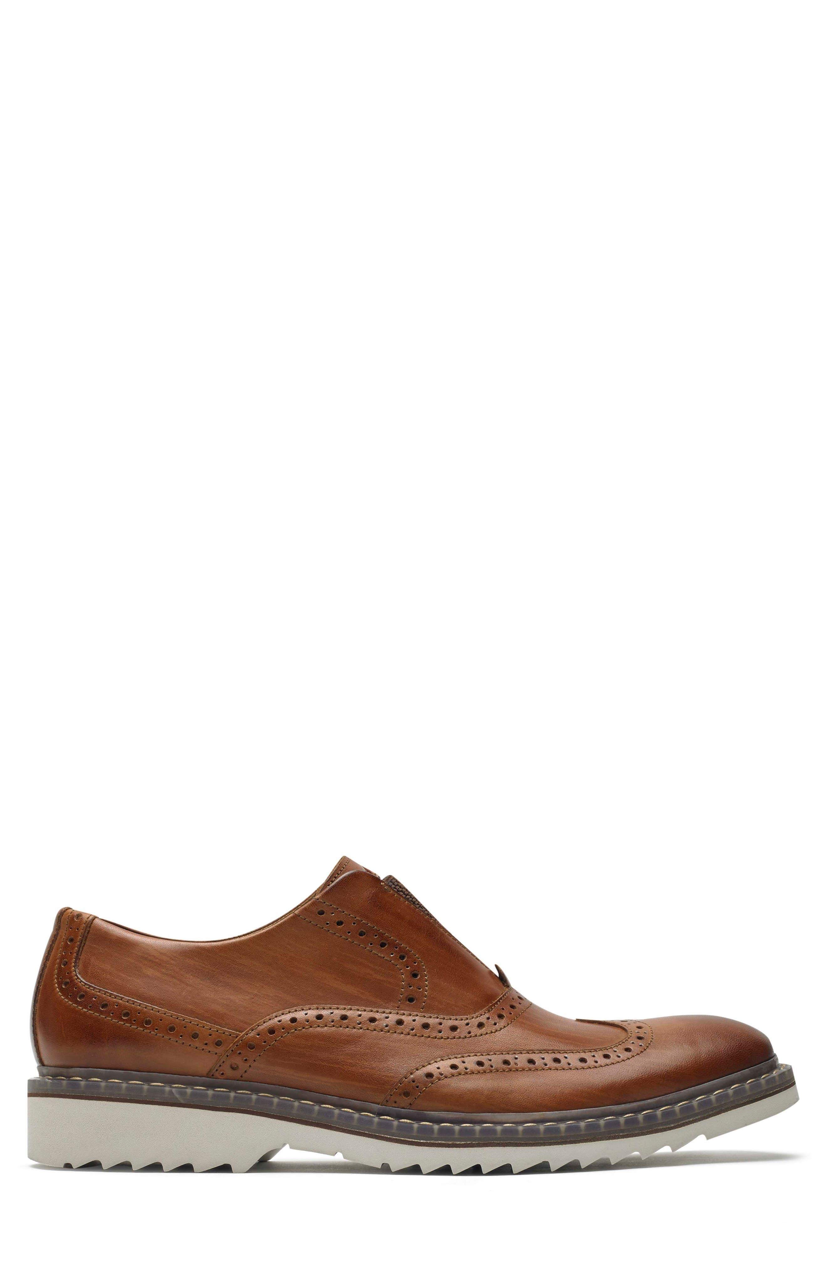 Jaxson Wingtip Slip-On,                             Alternate thumbnail 3, color,                             Tan Leather