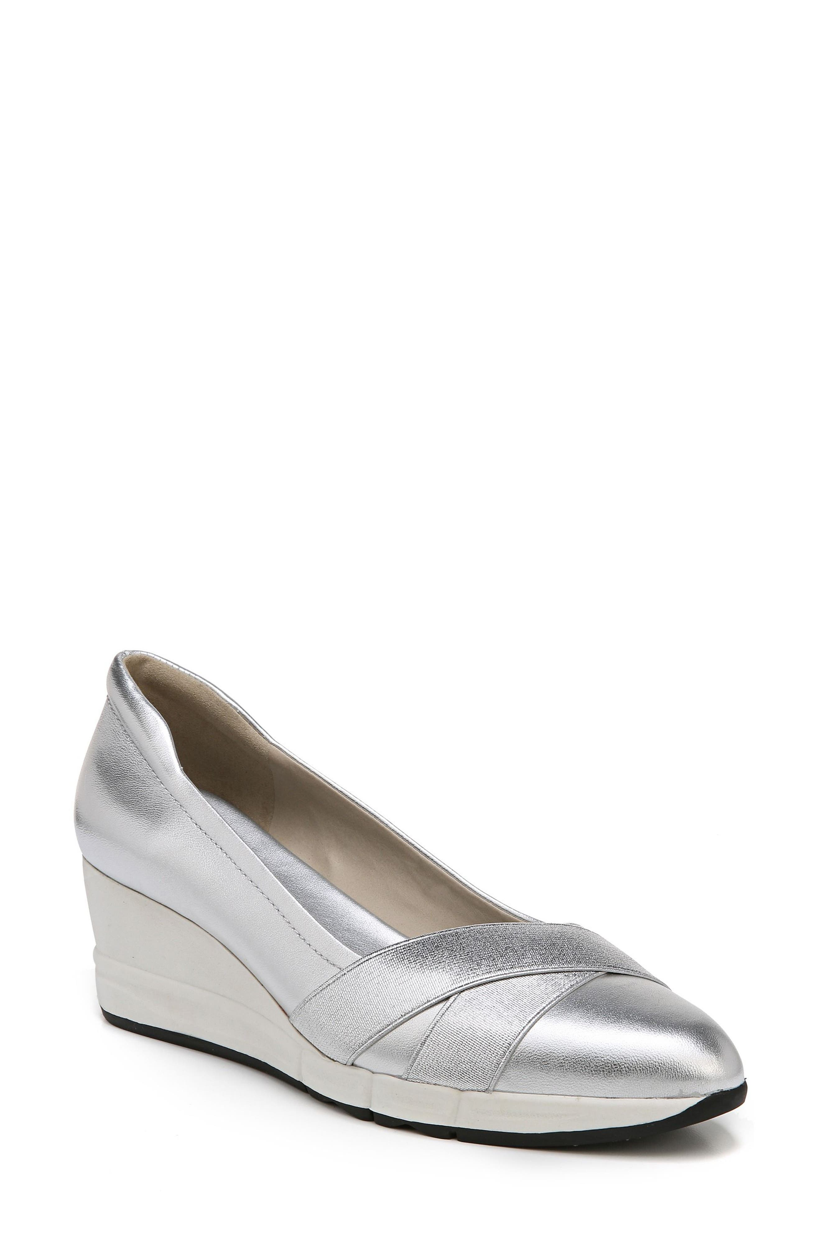 Harlyn Wedge Pump,                         Main,                         color, Silver Leather