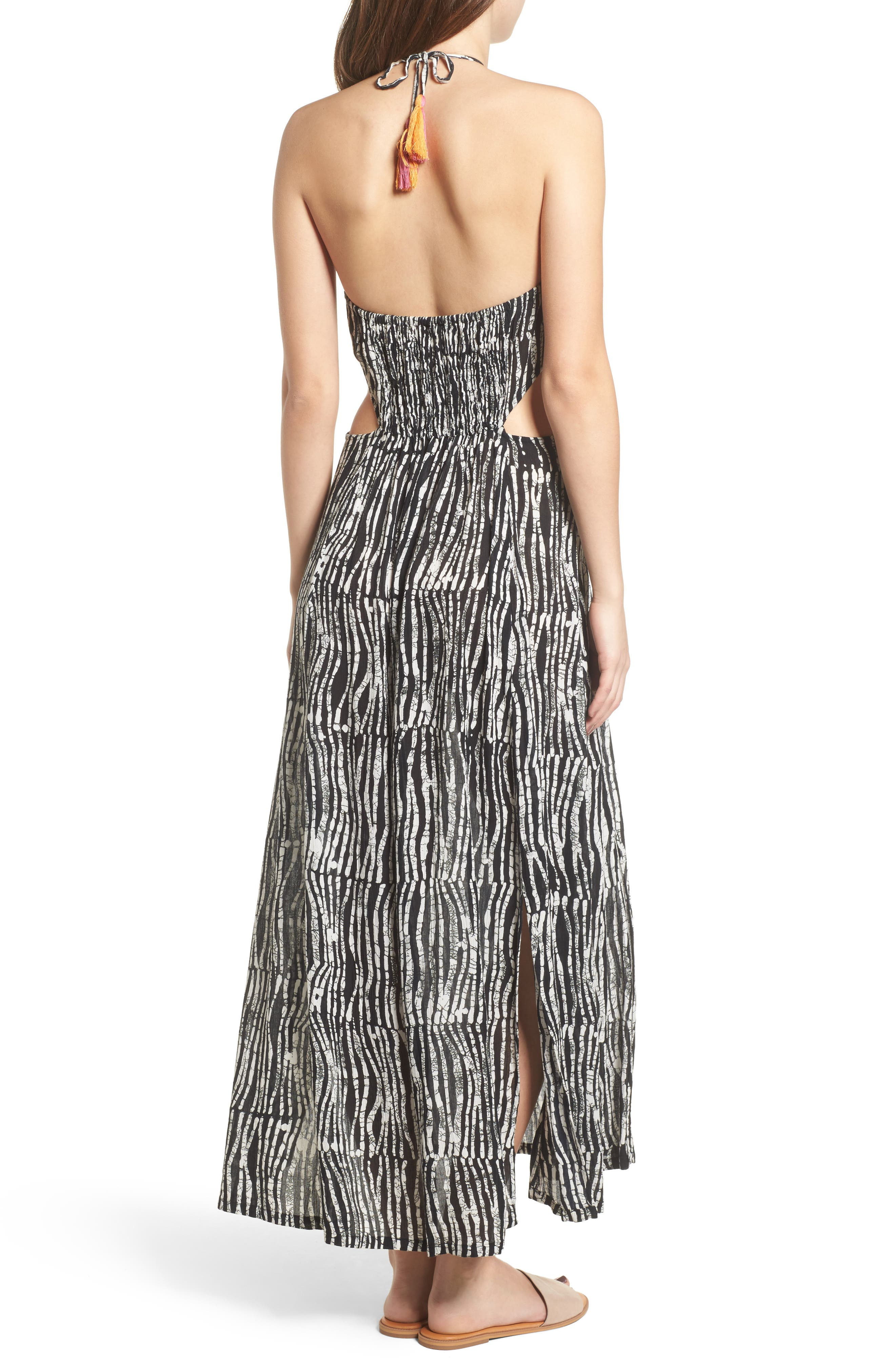 Before Dawn Embroidered Maxi Dress,                             Alternate thumbnail 3, color,                             Black/ White