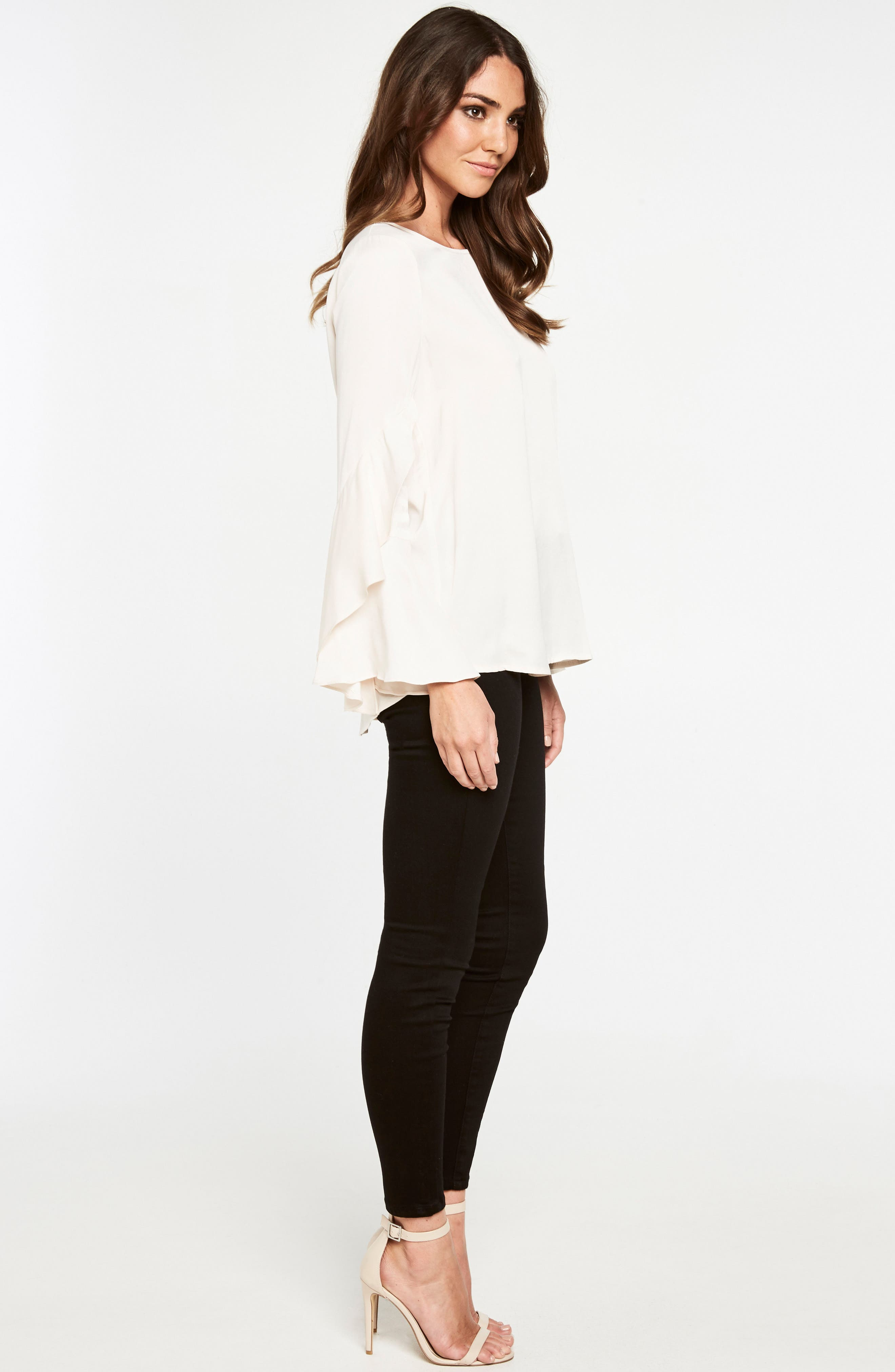 Bell Sleeve Top,                             Alternate thumbnail 2, color,                             Champagne