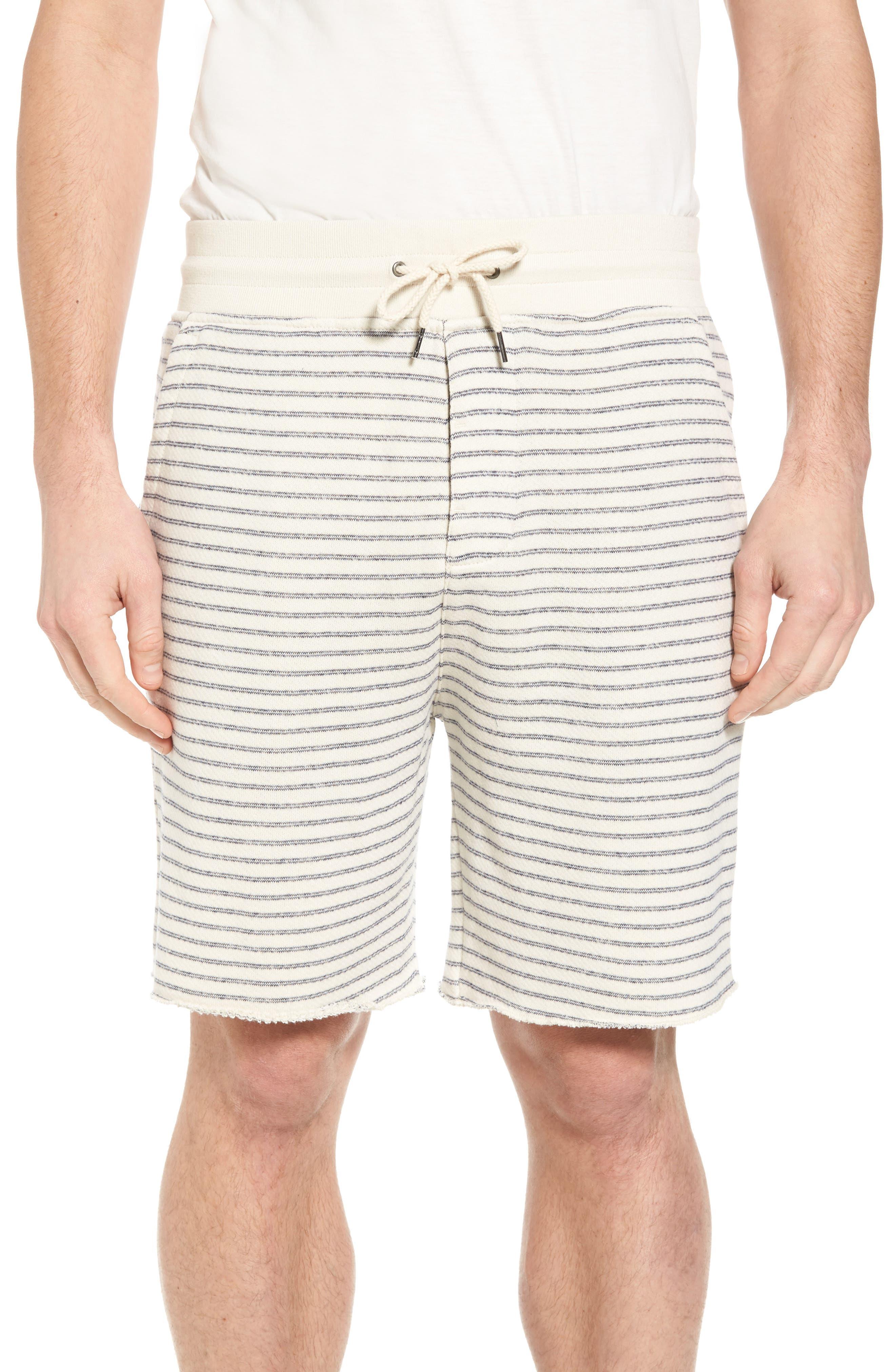 Dalton Stripe Drawcord Terry Shorts,                             Main thumbnail 1, color,                             White/ Navy Stripe