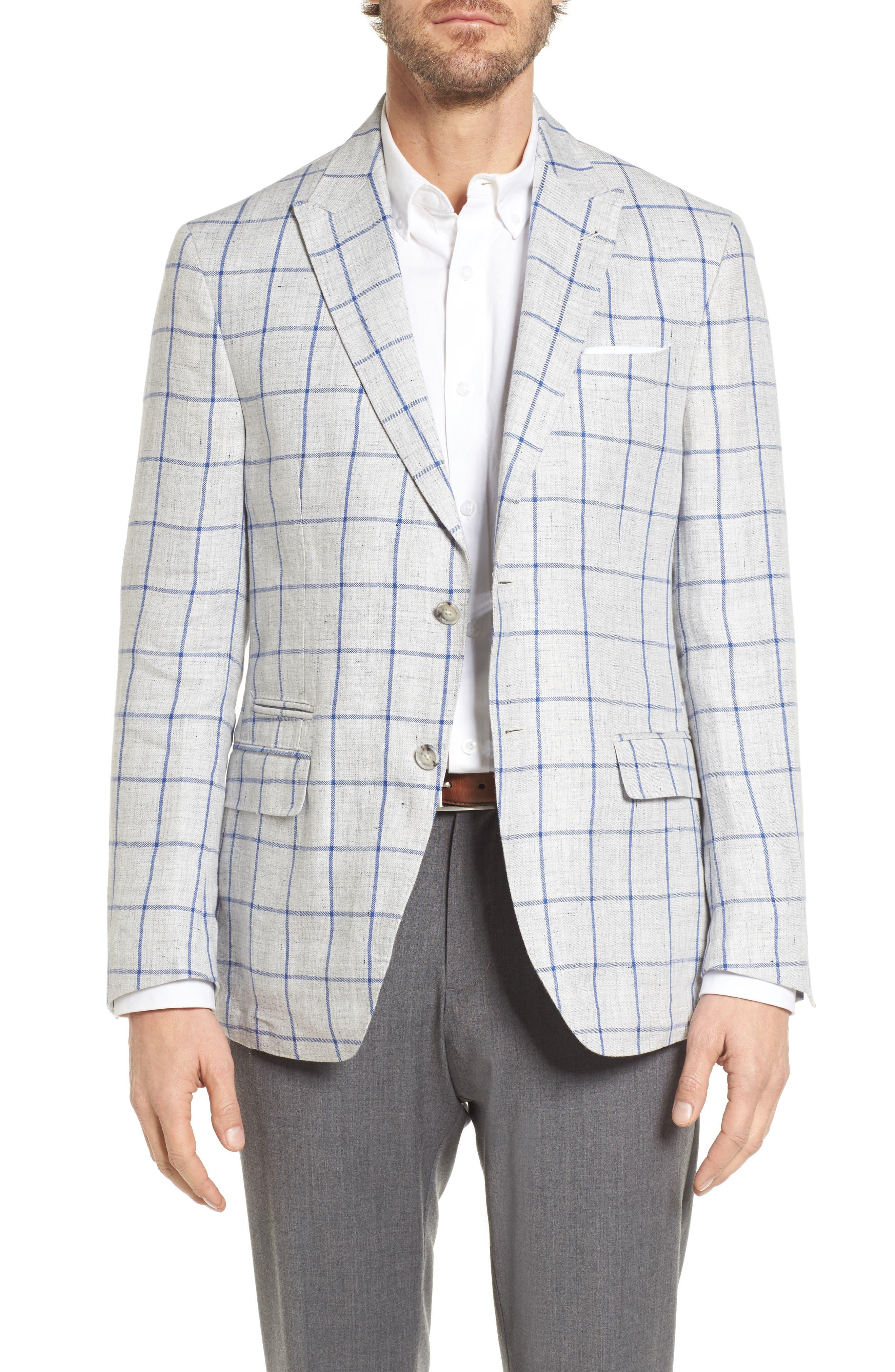 London Trim Fit Windowpane Linen Sport Coat,                         Main,                         color, Grey