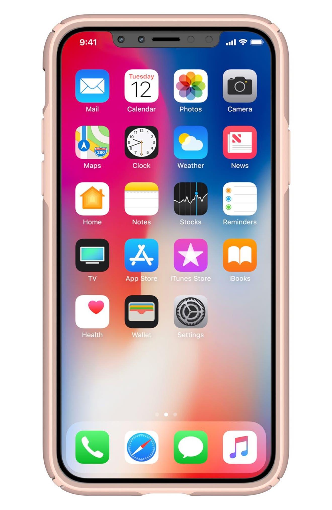 iPhone X Case,                             Alternate thumbnail 7, color,                             Rose Gold Metallic/ Peach