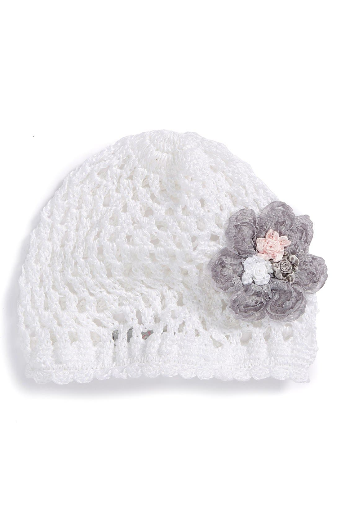 Alternate Image 1 Selected - PLH Bows & Laces Crochet Hat (Baby Girls)