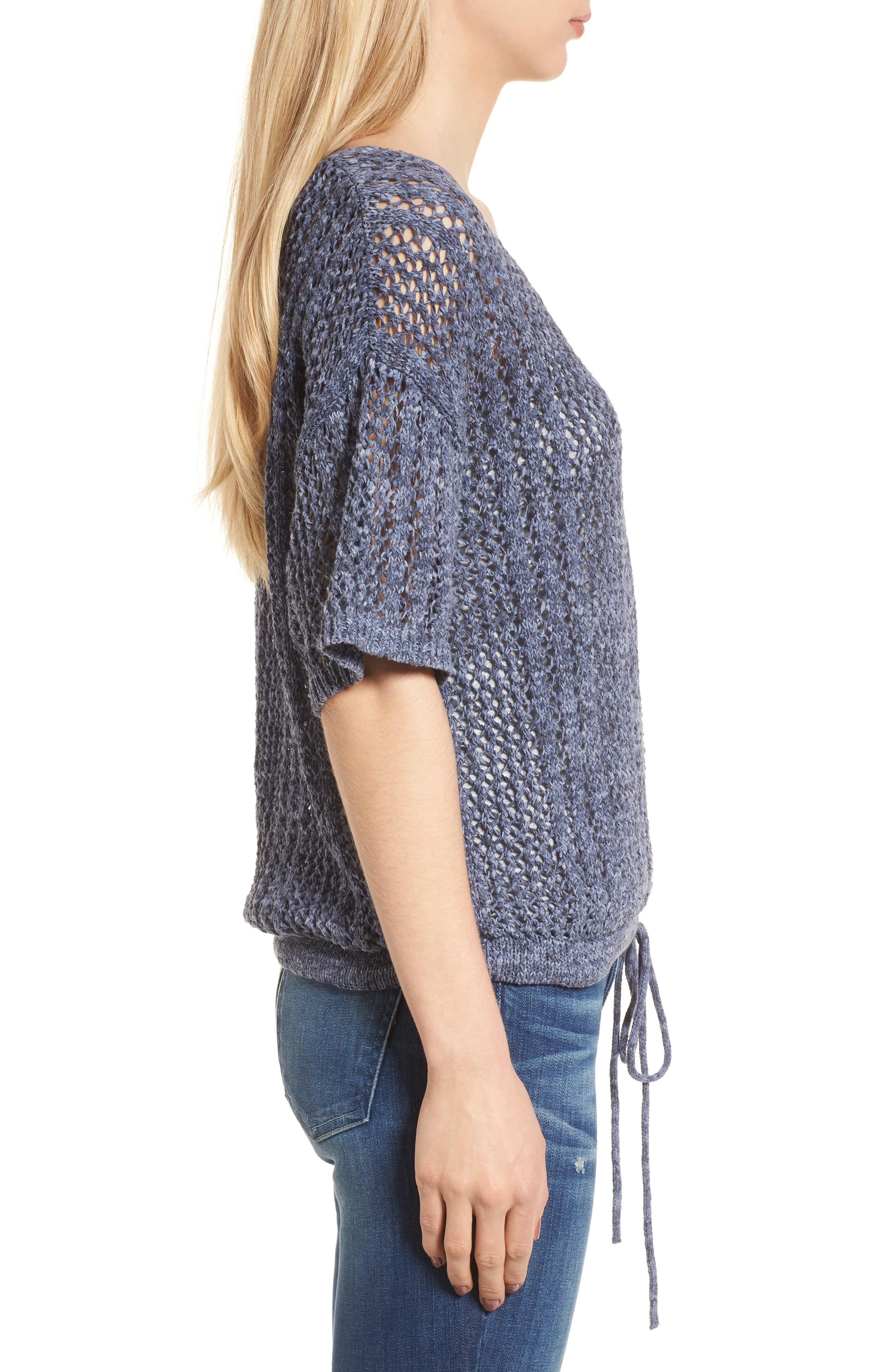 Knox Crochet Sweater,                             Alternate thumbnail 3, color,                             Navy