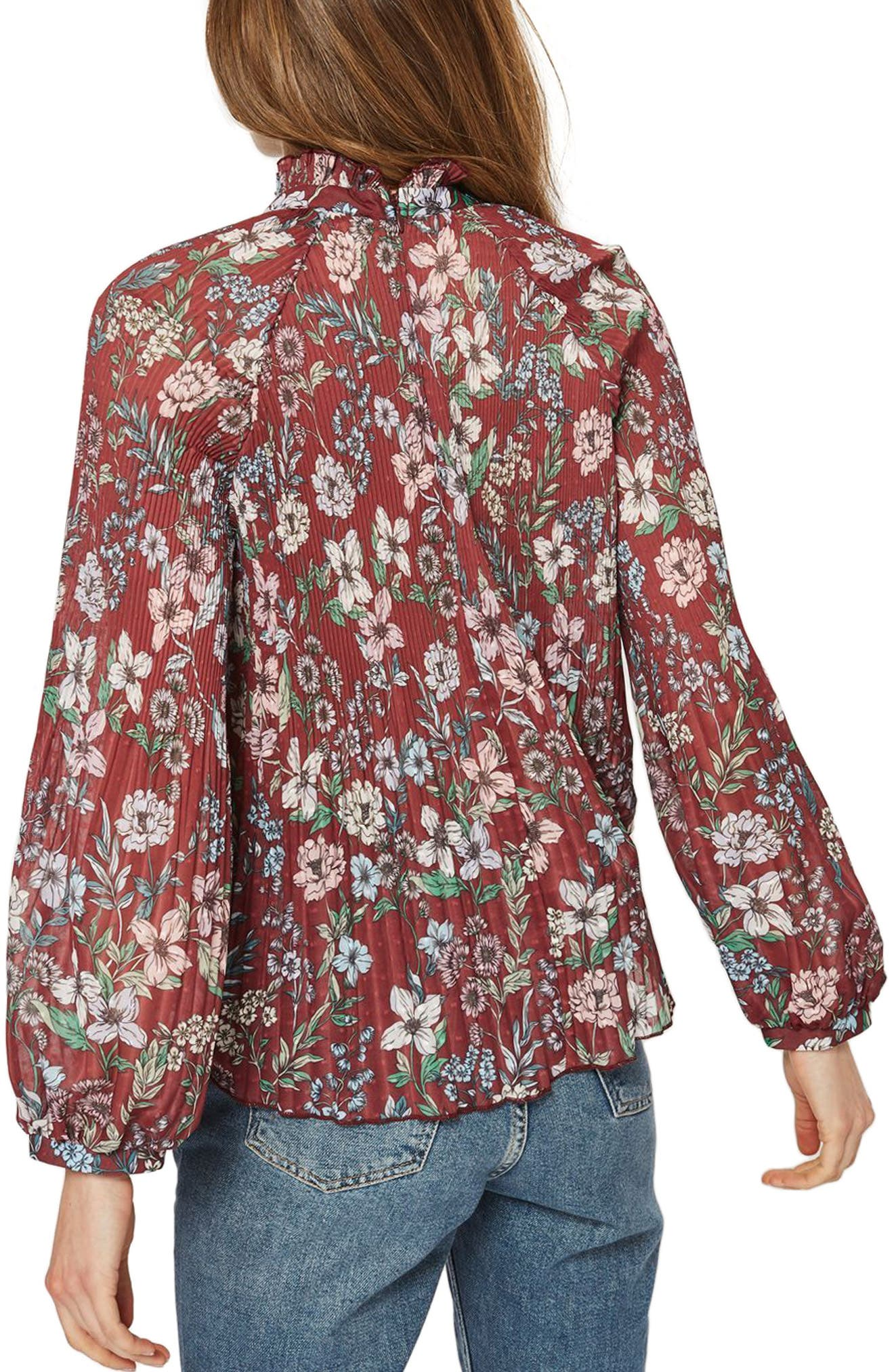 Floral Pleat Tunic Blouse,                             Alternate thumbnail 3, color,                             Burgundy Multi