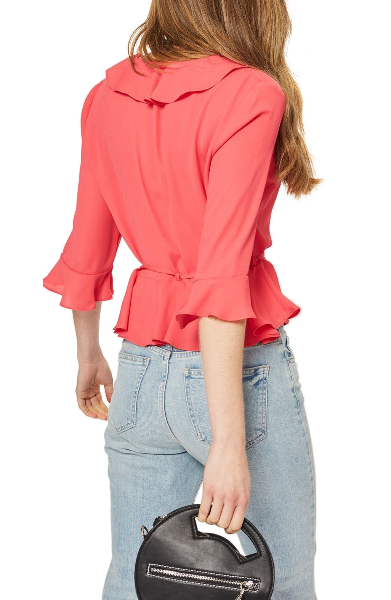 Phoebe Frilly Blouse,                             Alternate thumbnail 2, color,                             Fuschia