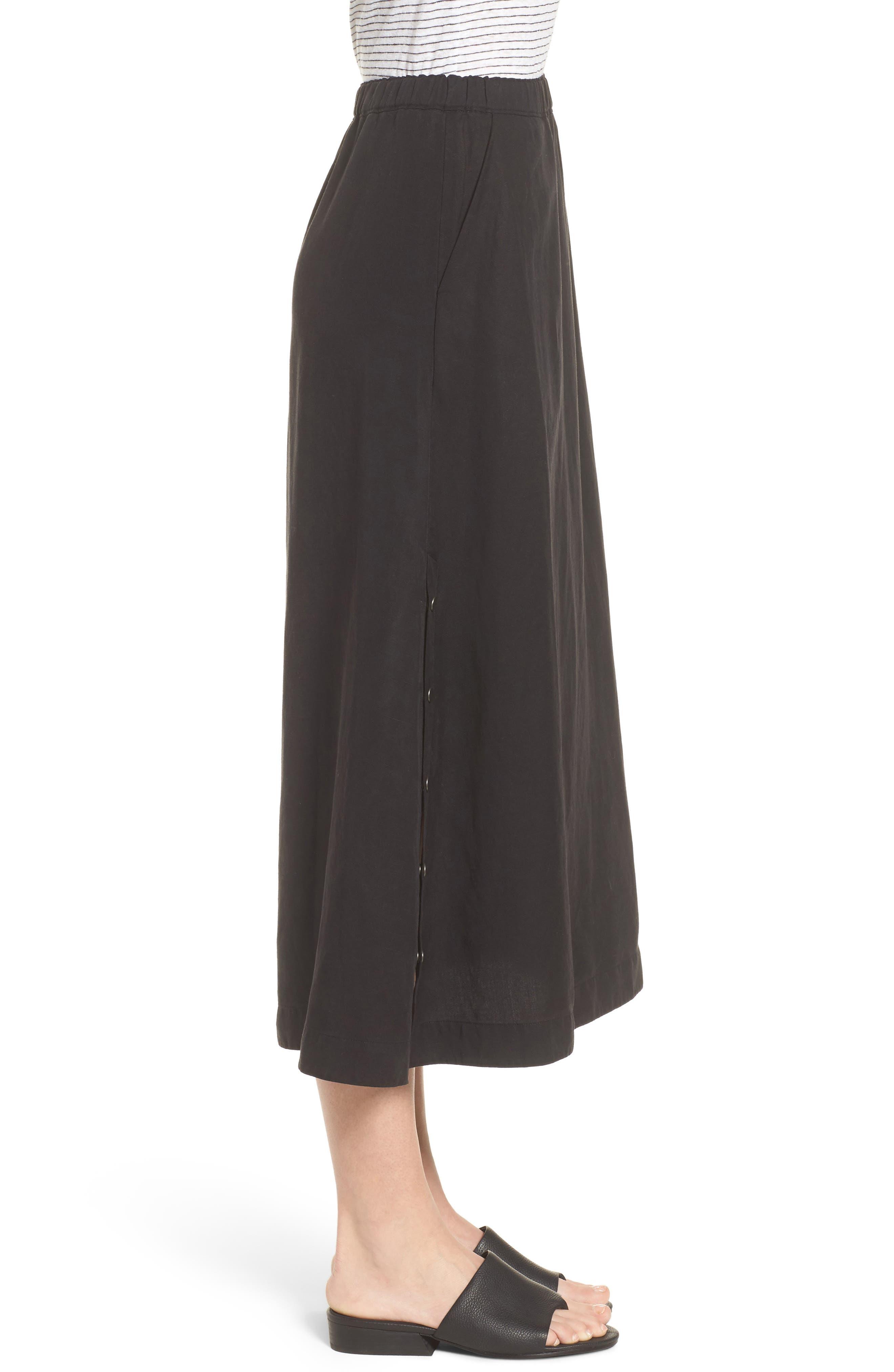 Tencel<sup>®</sup> Lyocell & Linen Midi Skirt,                             Alternate thumbnail 3, color,                             Black