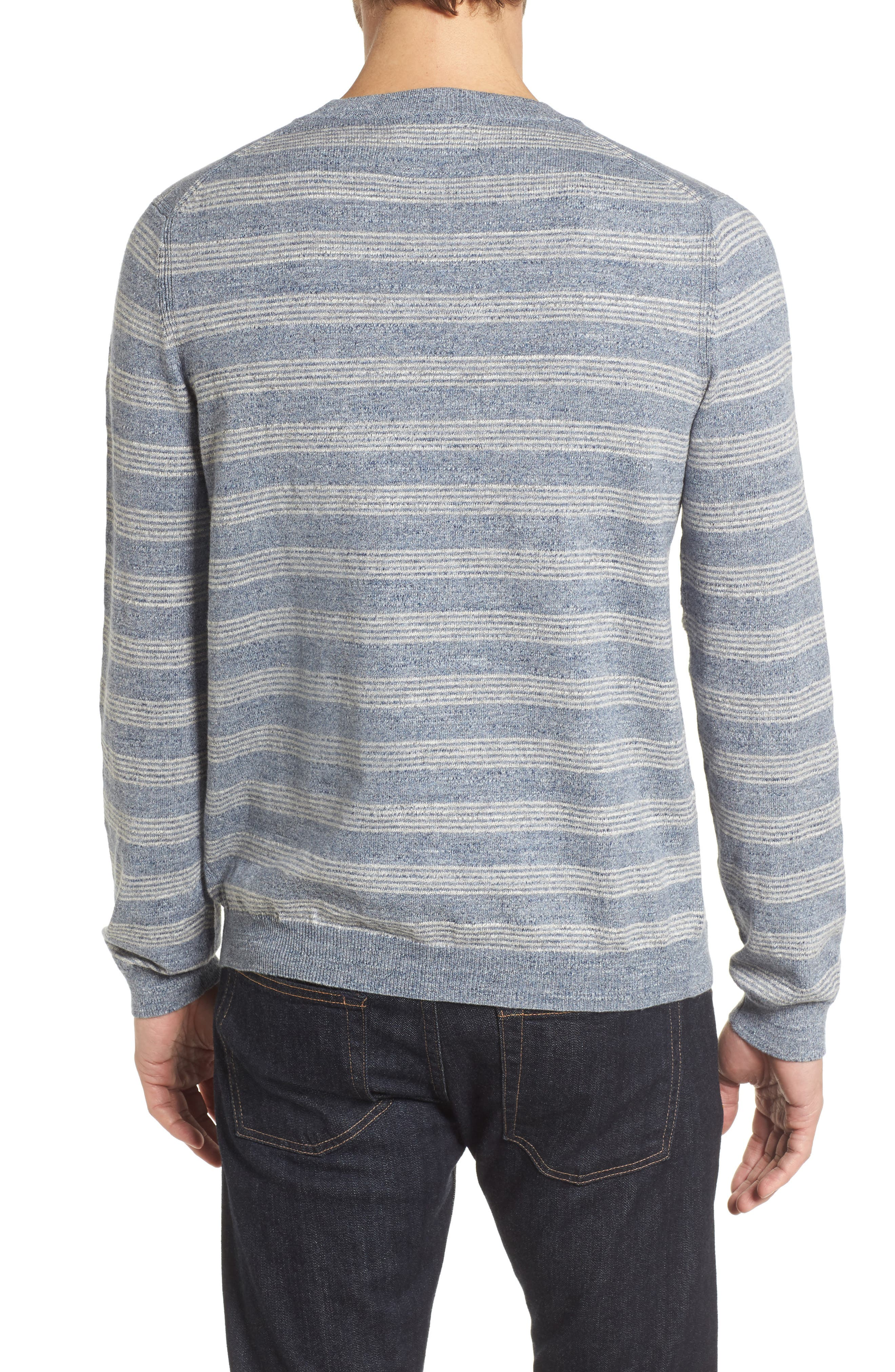 Stripe Cotton Sweater,                             Alternate thumbnail 2, color,                             Blue Grey Heather Stripe