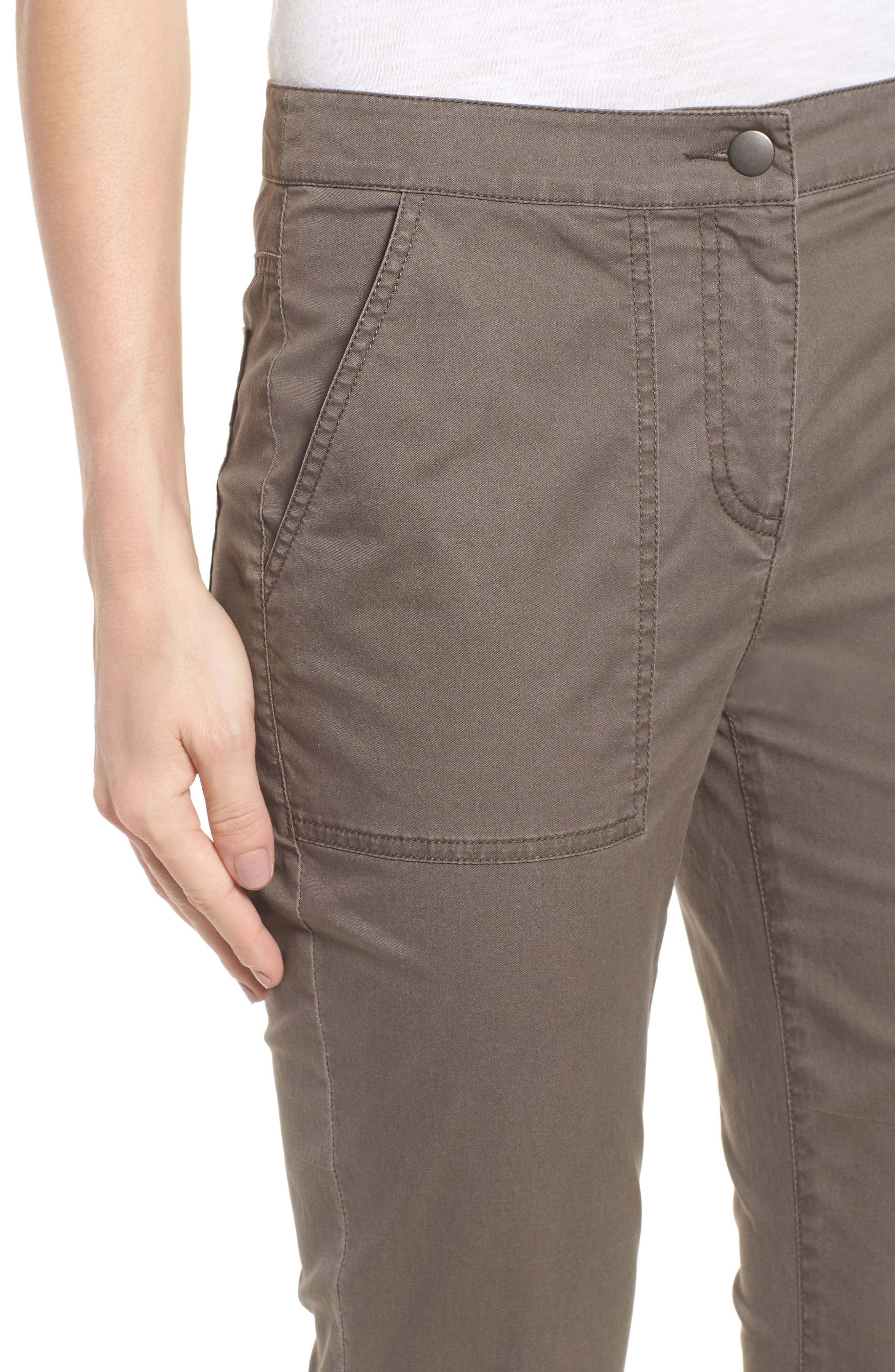 Slim Organic Cotton Blend Pants,                             Alternate thumbnail 4, color,                             Rye