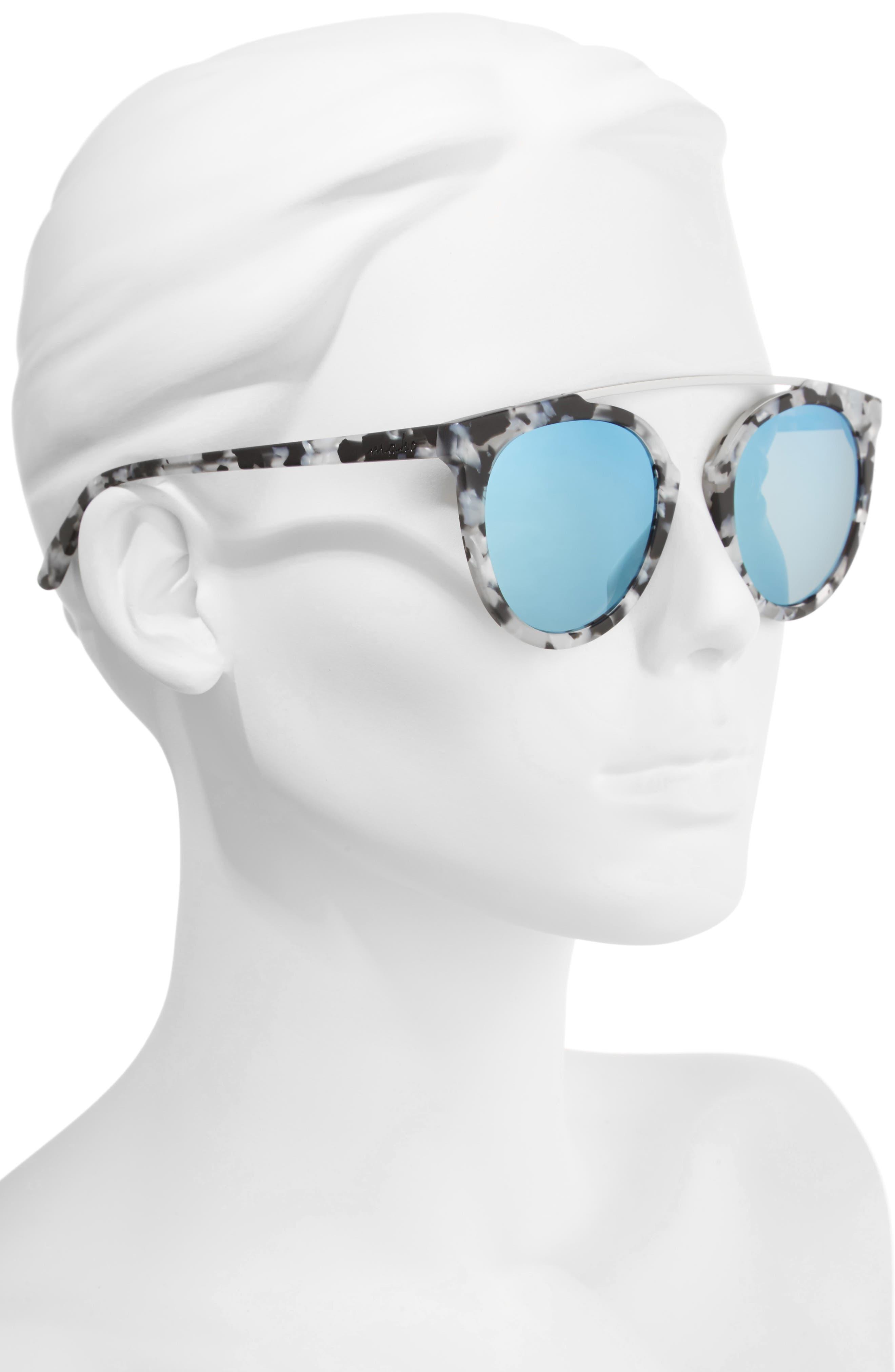 Key West 50mm Polarized Aviator Sunglasses,                             Alternate thumbnail 2, color,                             Marble