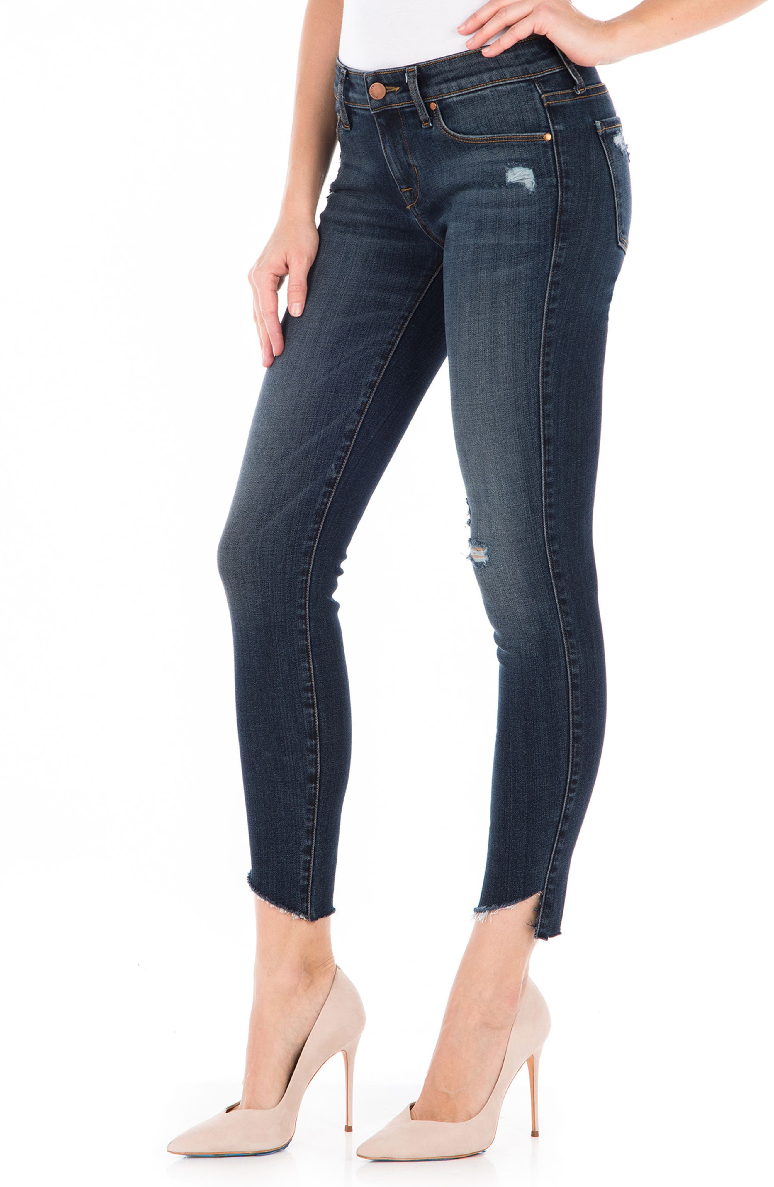 Mila Crop Skinny Jeans,                             Alternate thumbnail 3, color,                             Refinery Blue