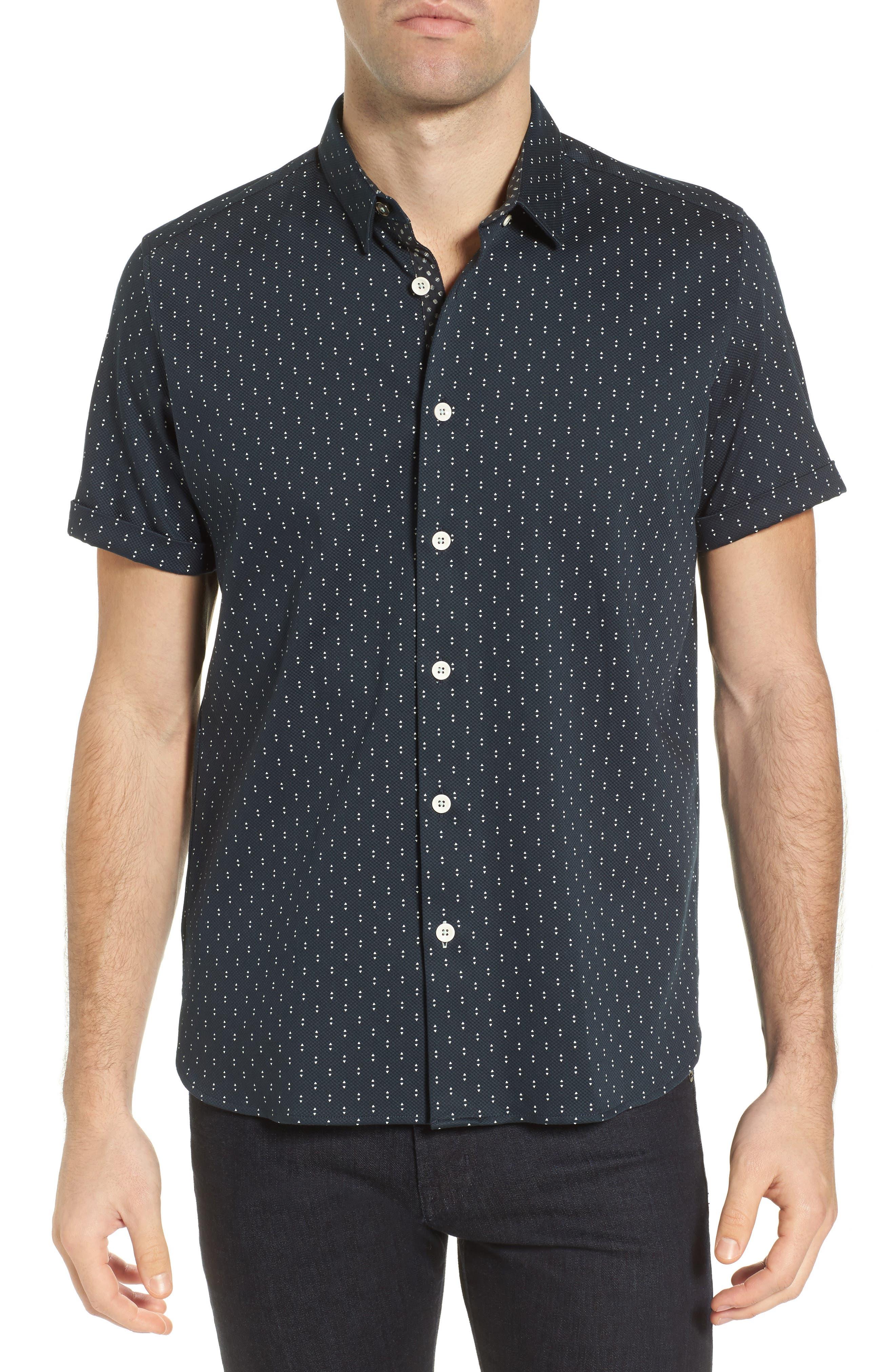 Franko Print Sport Shirt,                             Main thumbnail 1, color,                             Navy