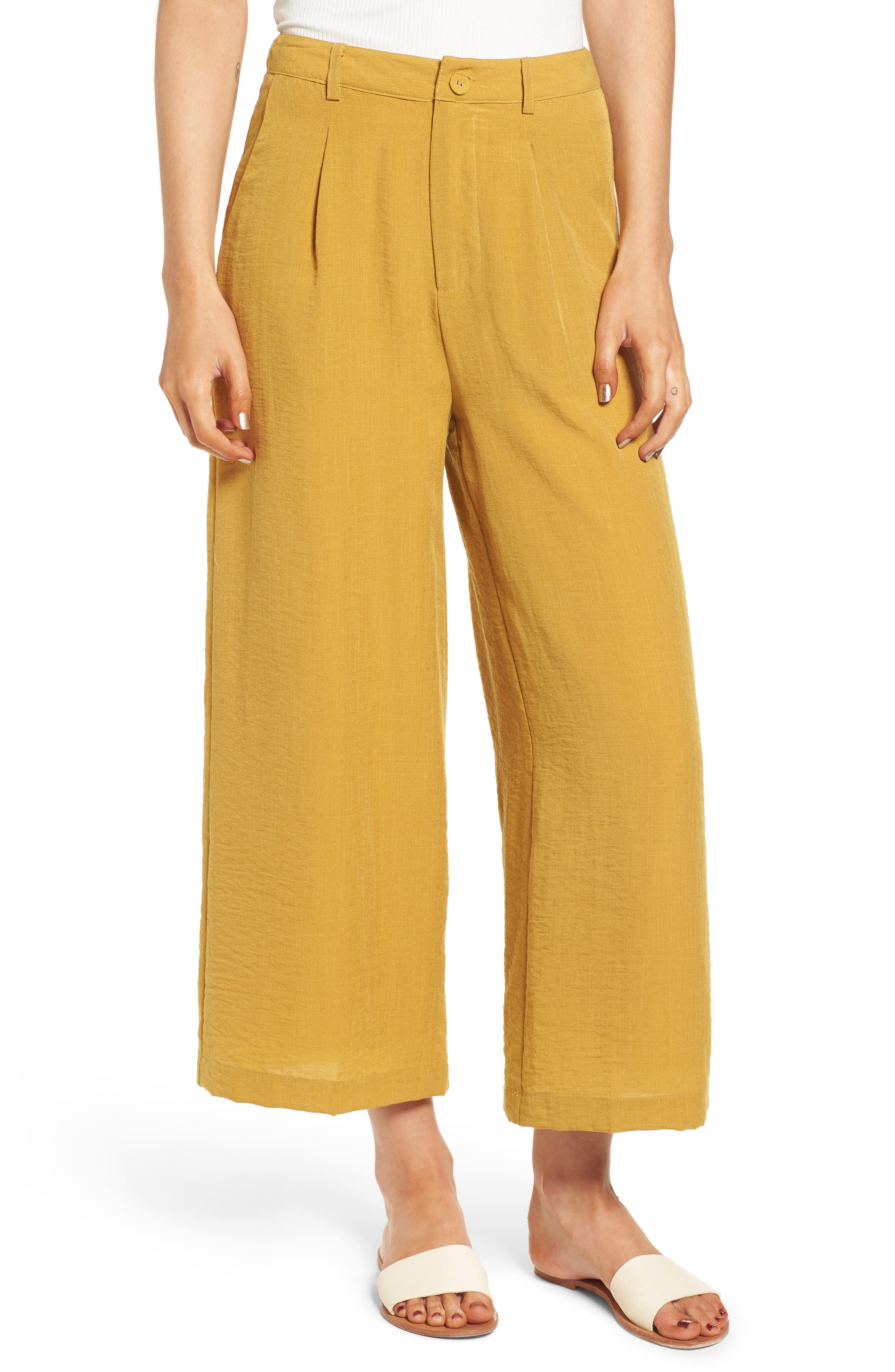 High Waist Culottes,                         Main,                         color, Mustard
