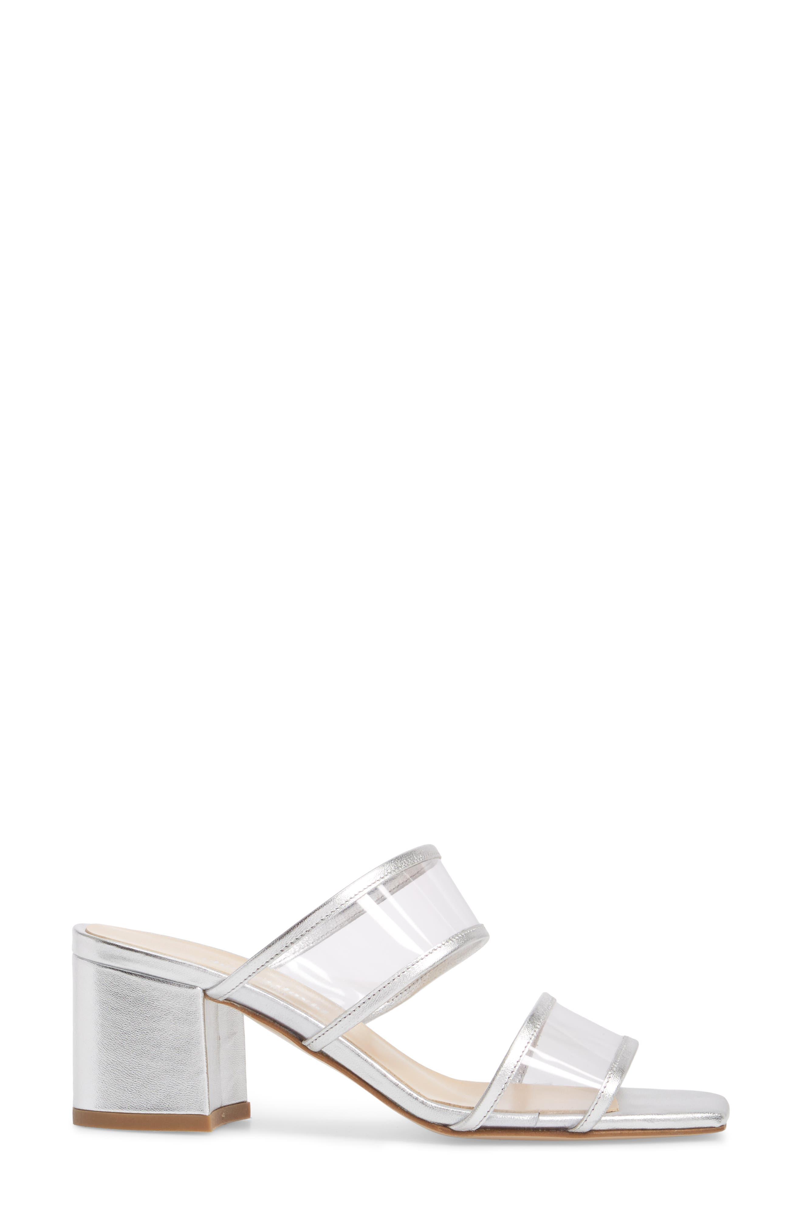 Cally Transparent Strap Slide Sandal,                             Alternate thumbnail 3, color,                             Silver