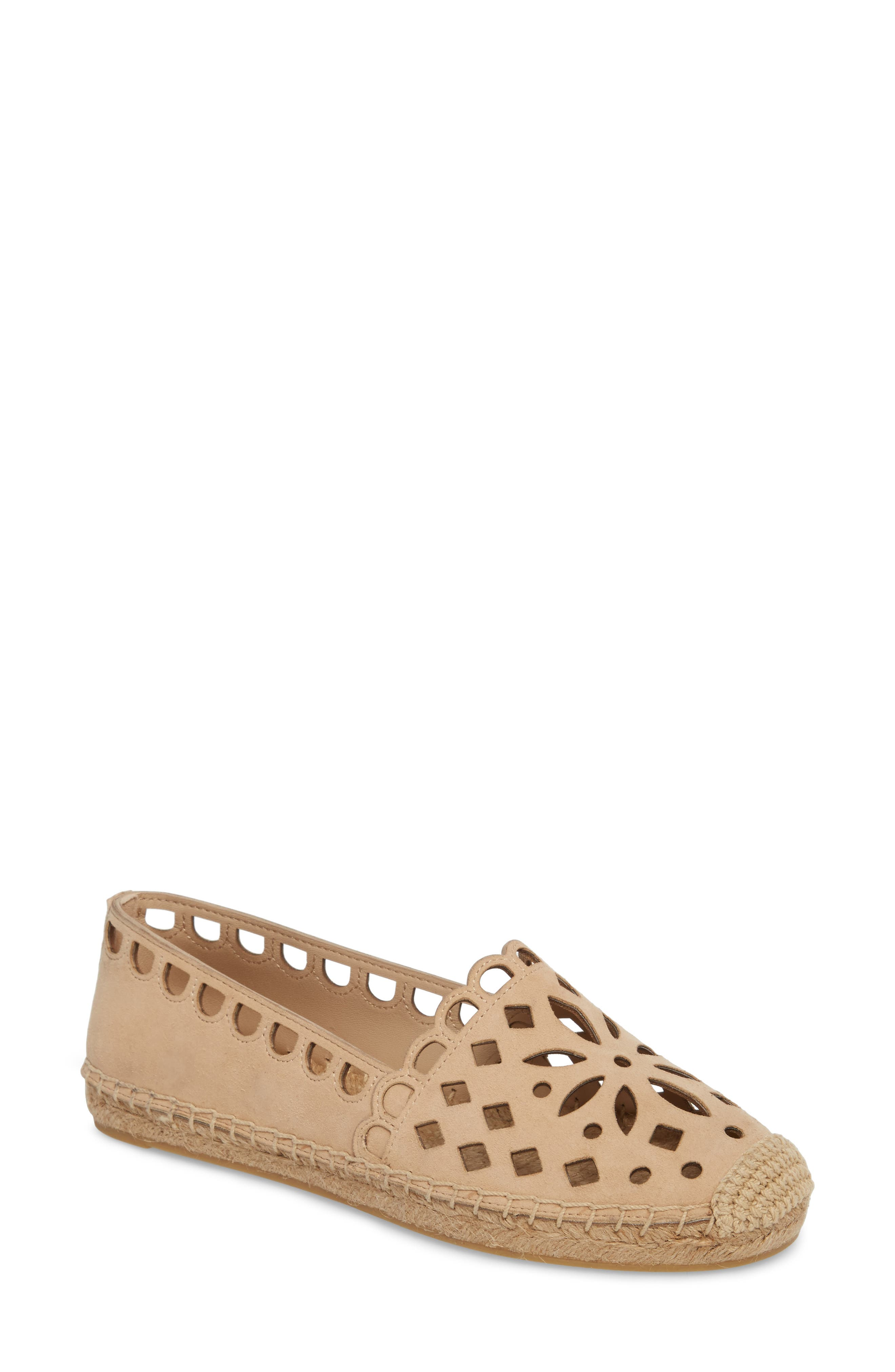 May Perforated Espadrille Flat,                         Main,                         color, Desert Blush