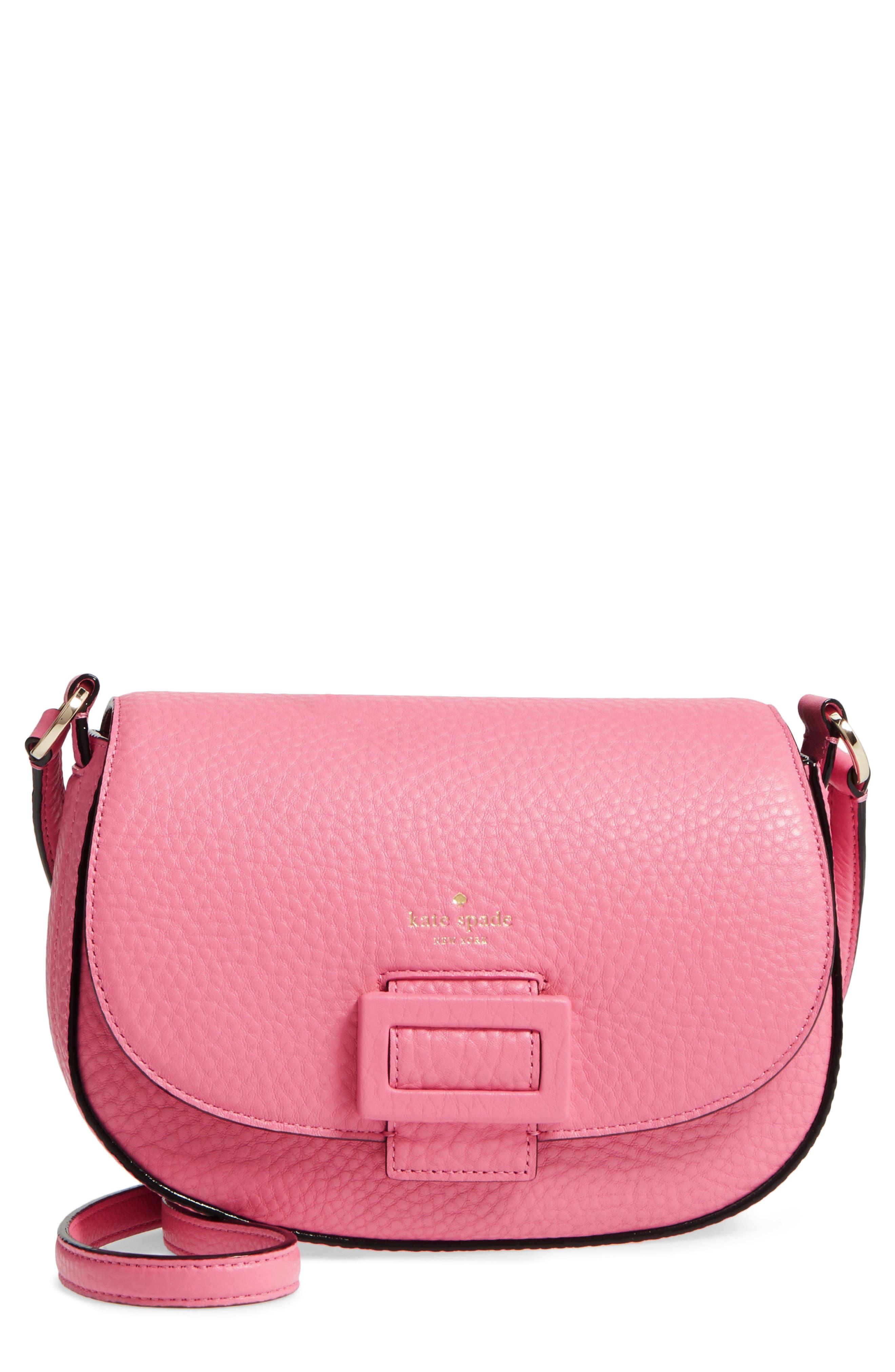 carlyle street - kallie leather saddle bag,                         Main,                         color, Pink Sunset