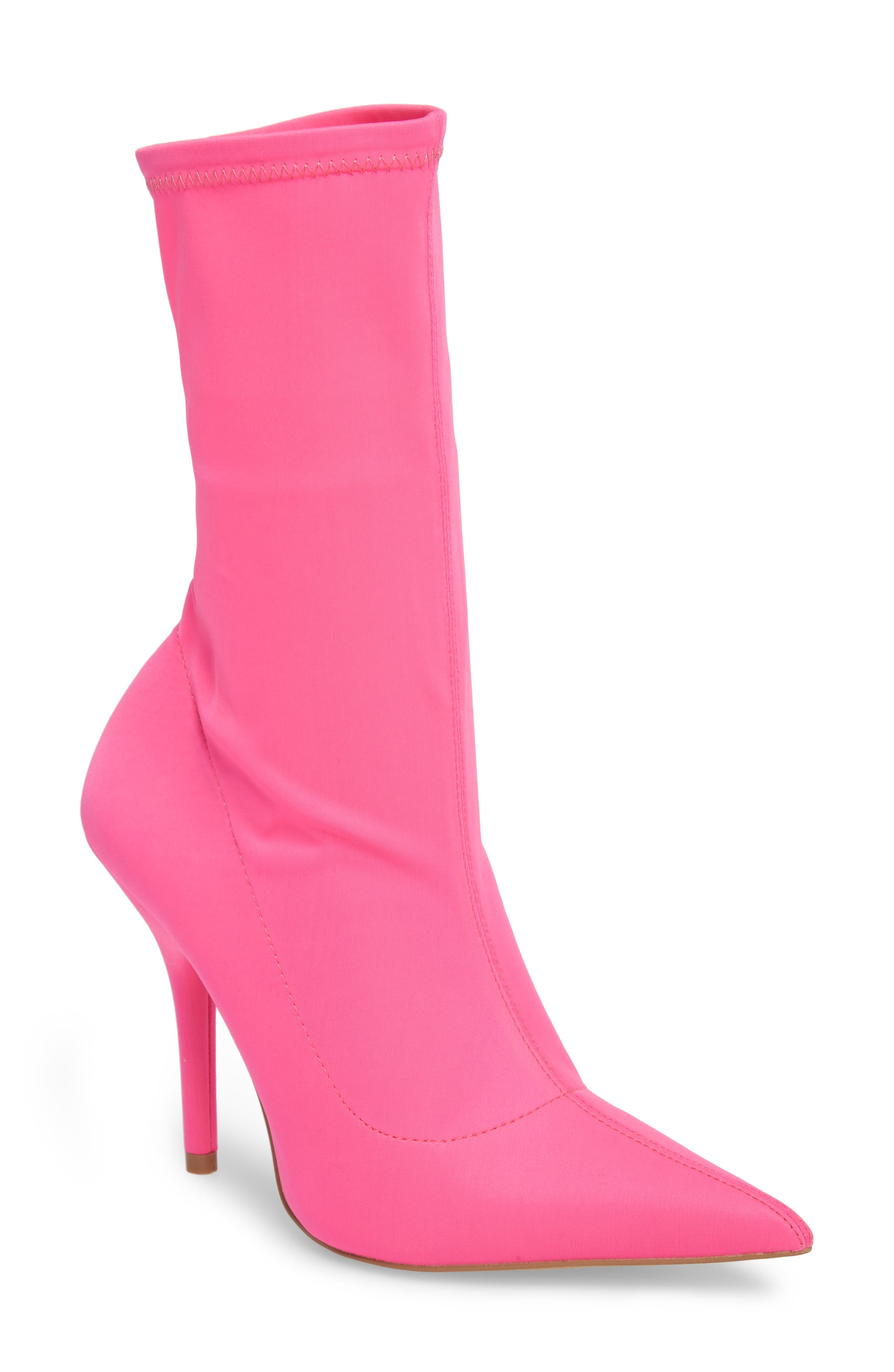 Mimi Stretch Bootie,                         Main,                         color, Pink Faux Leather