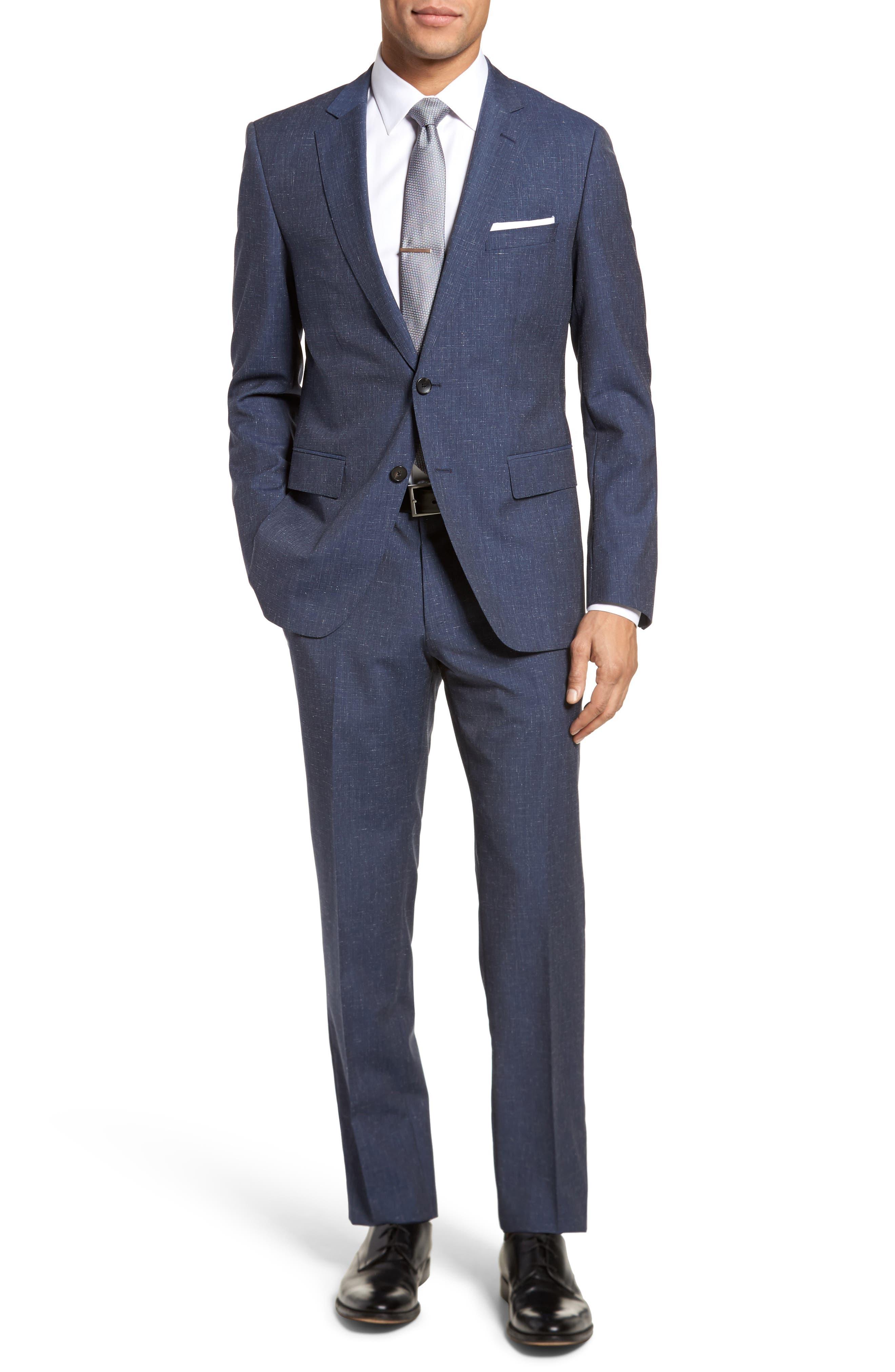 BOSS Huge/Genius Trim Fit Solid Wool Blend Suit