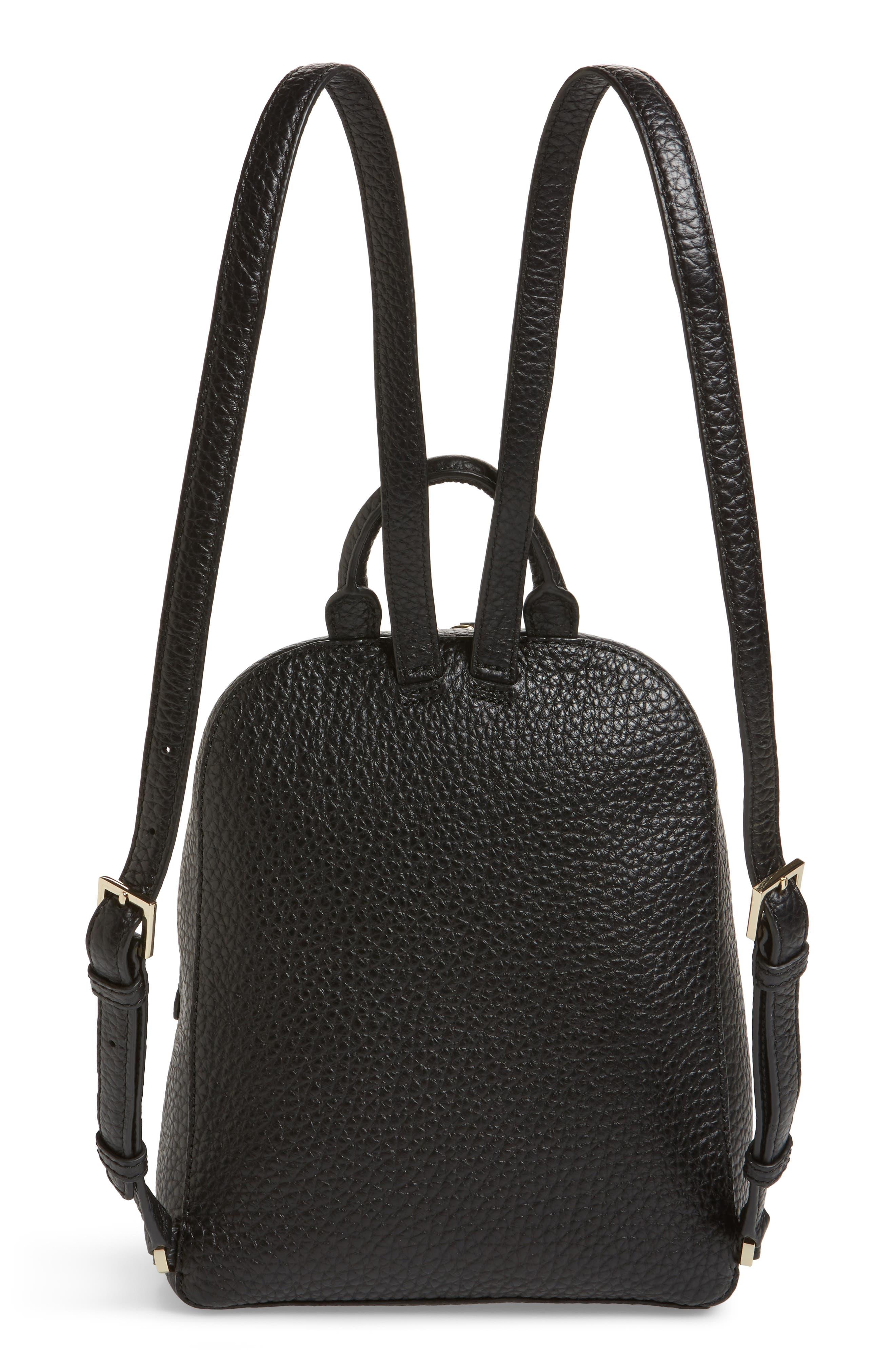 carter street - caden leather backpack,                             Alternate thumbnail 3, color,                             Black