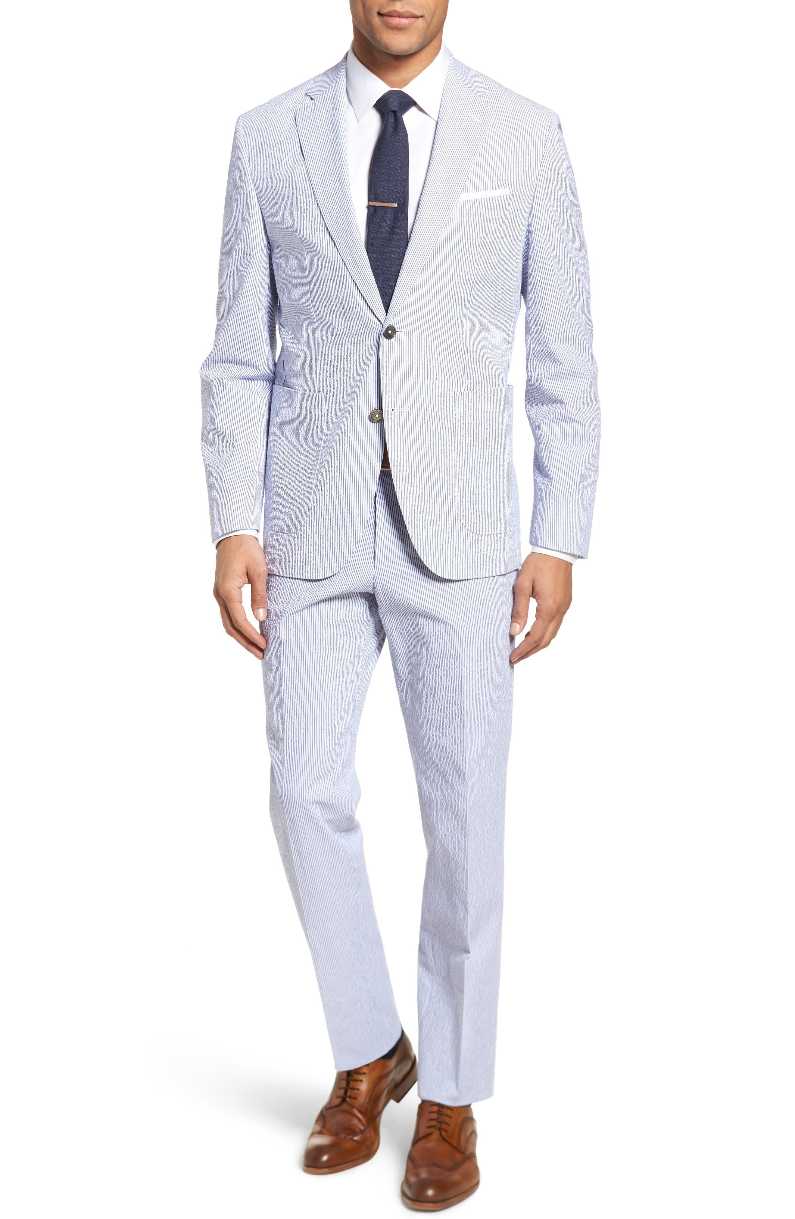 Janon/Lenon Classic Fit Stretch Cotton Seersucker Suit,                         Main,                         color, Blue Seersucker