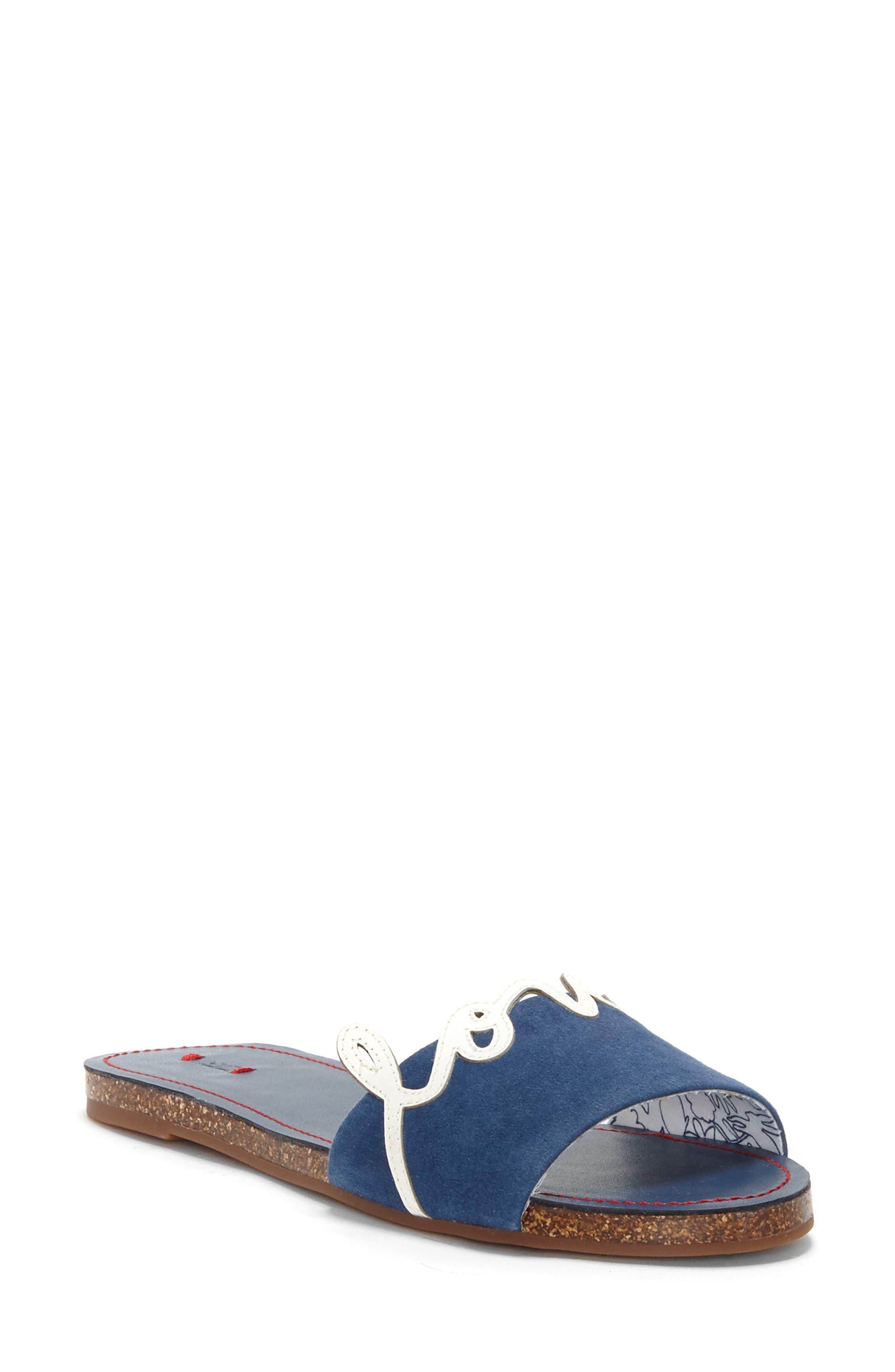 Sharlin Slide Sandal,                         Main,                         color, Oxford Blue/ Milk