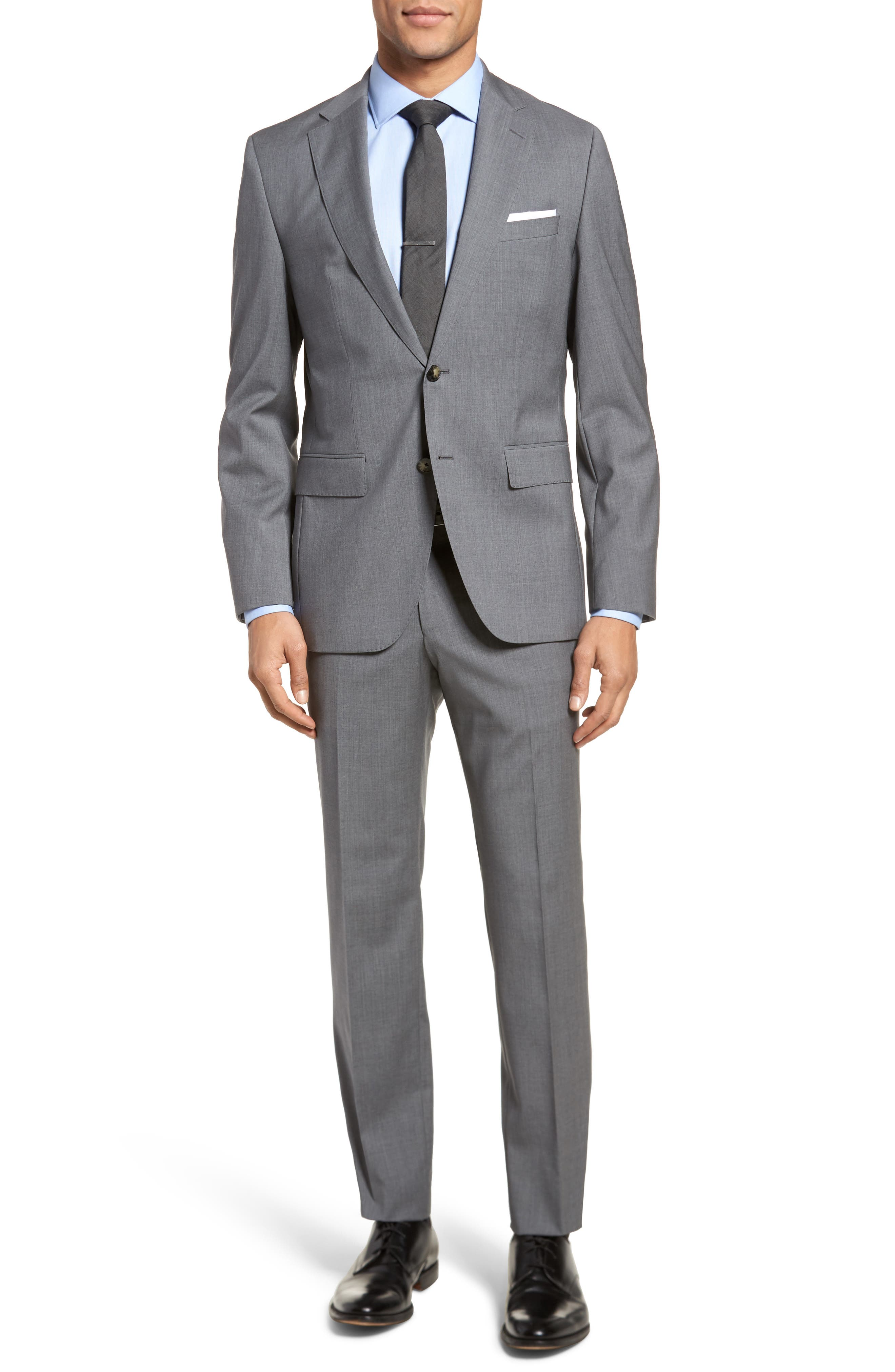 Johnstons/Lenon Classic Fit Solid Wool Suit,                             Main thumbnail 1, color,                             Medium Grey