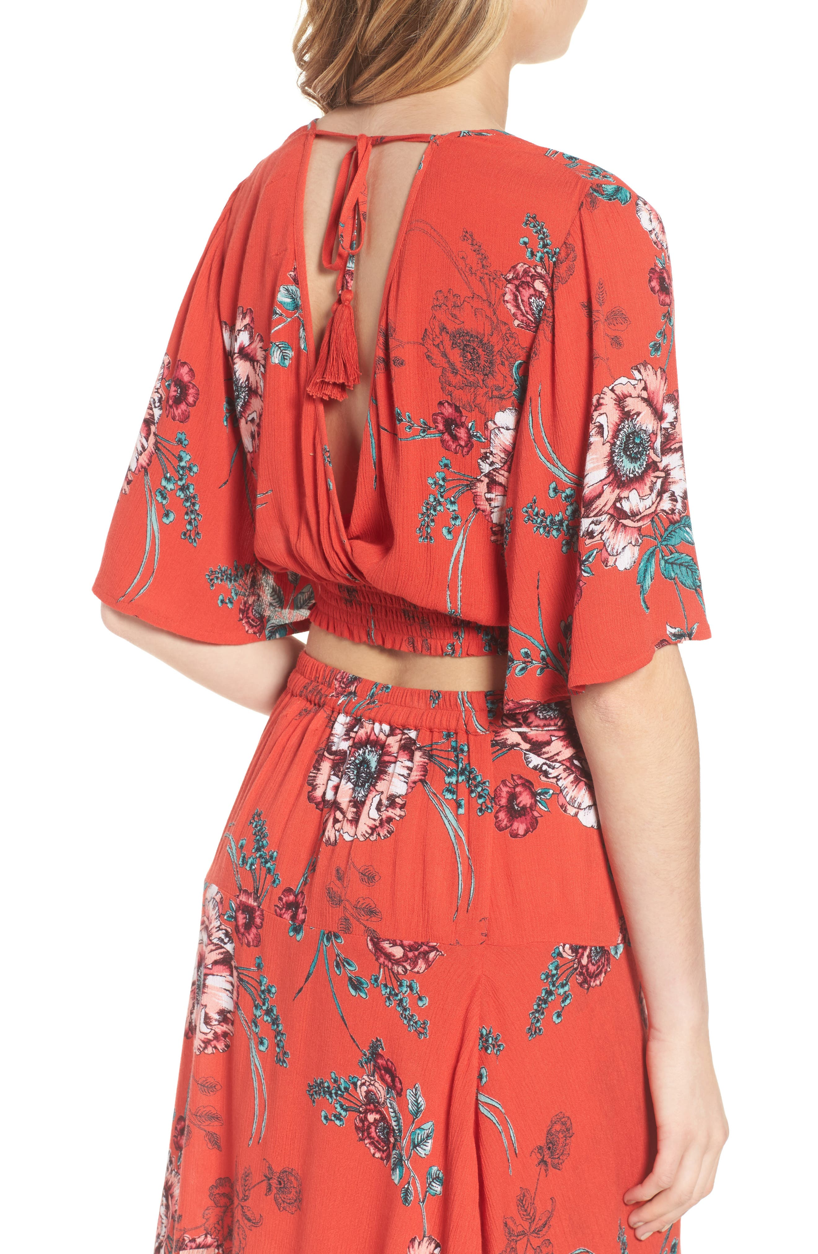 Shadow Floral Tie Back Crop Top,                             Alternate thumbnail 3, color,                             Red/ Peach