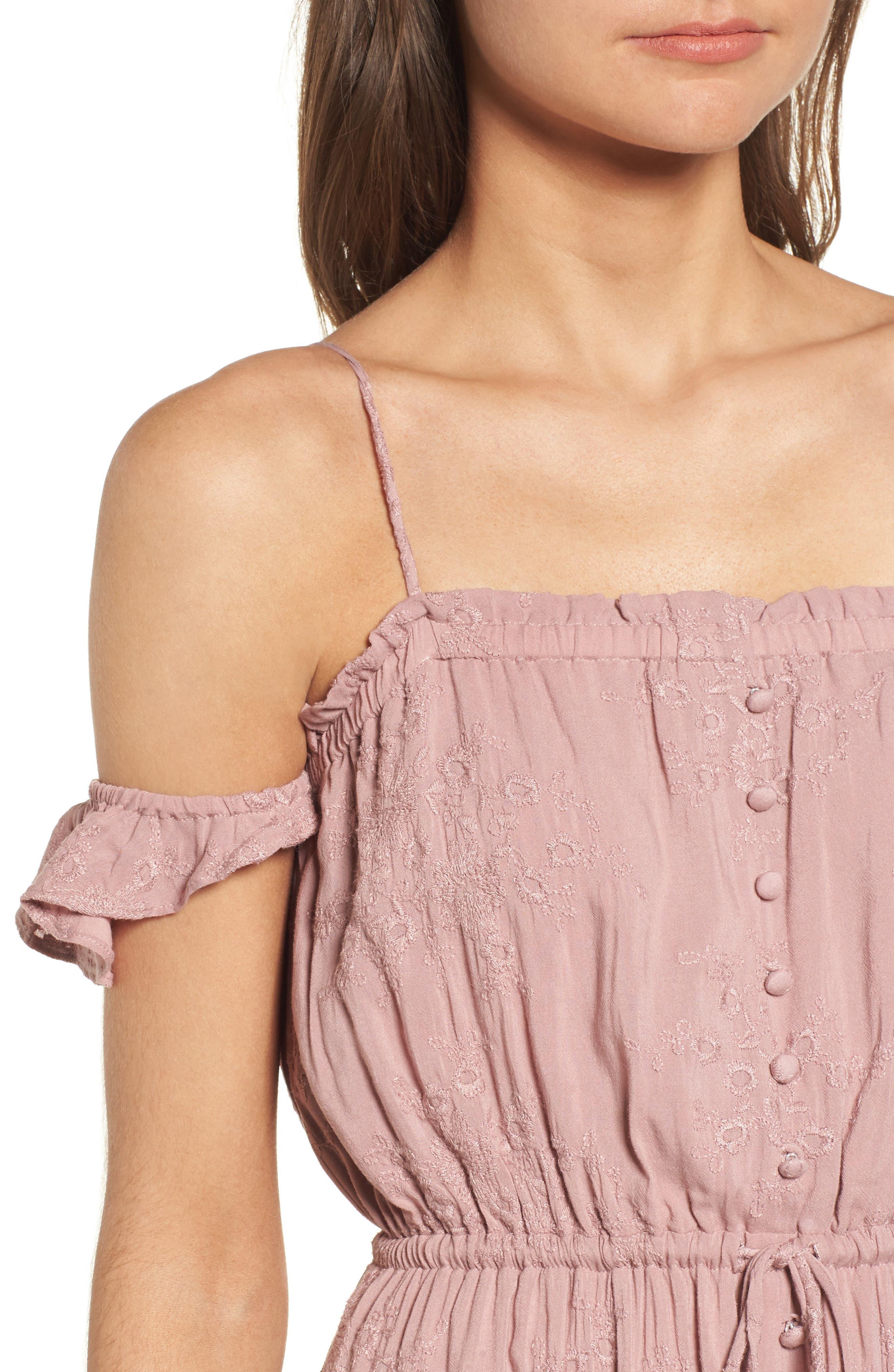 Rose Cold Shoulder High/Low Dress,                             Alternate thumbnail 5, color,                             Rosy Pink