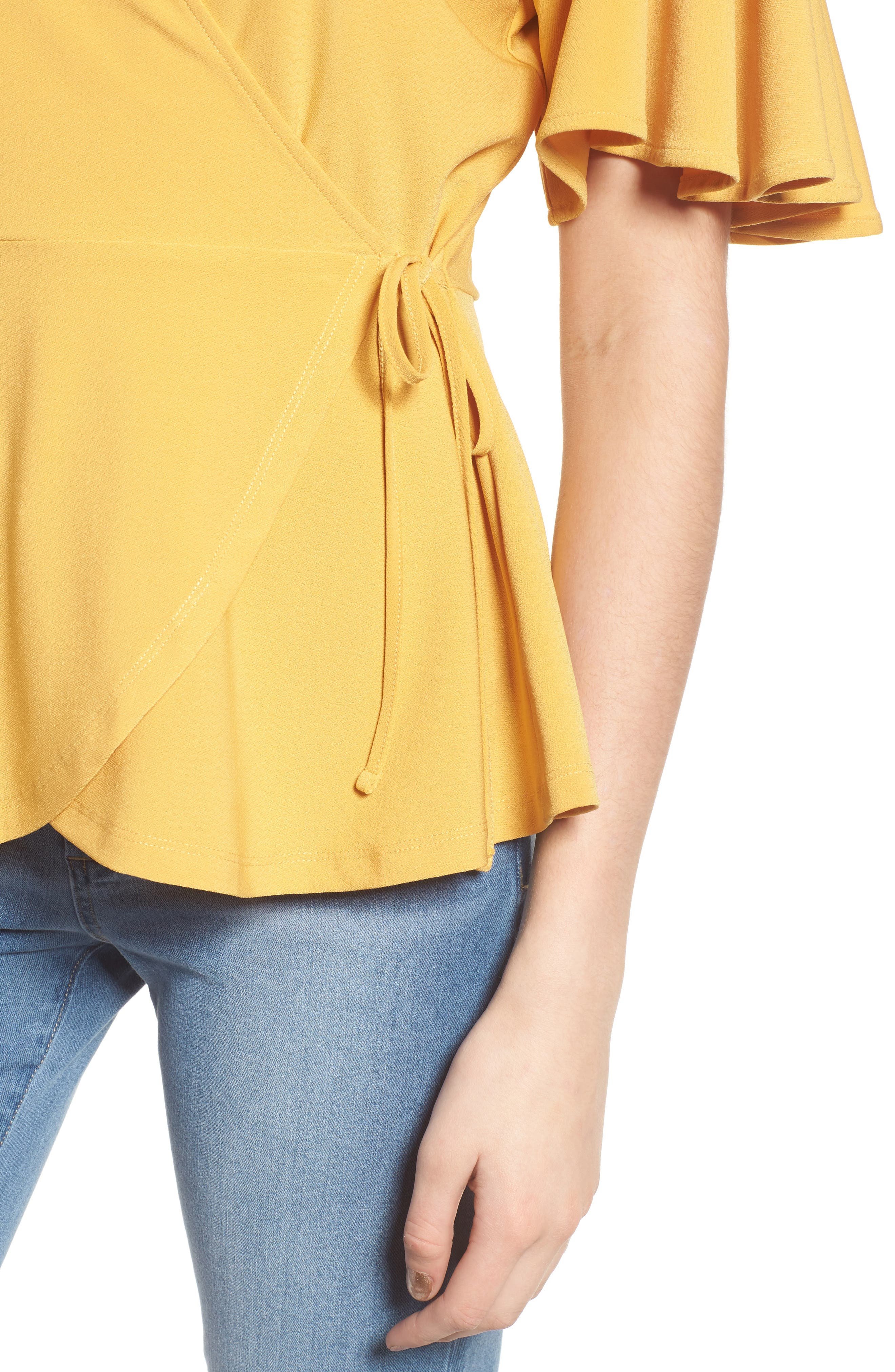 Flounce Sleeve Faux Wrap Top,                             Alternate thumbnail 4, color,                             Yellow Mineral
