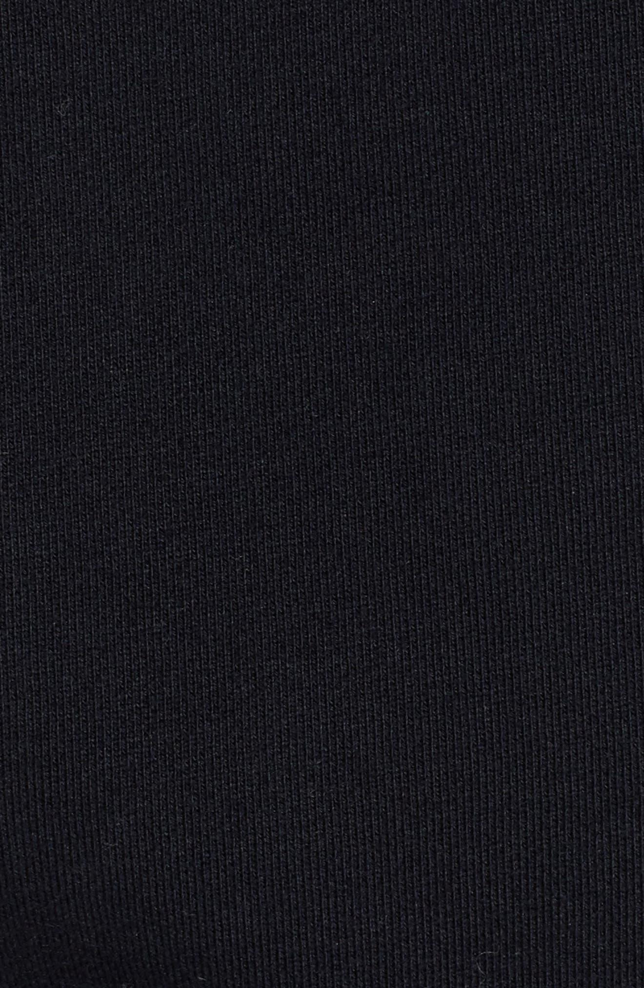 Cutoff Short Sleeve Hoodie,                             Alternate thumbnail 5, color,                             Black
