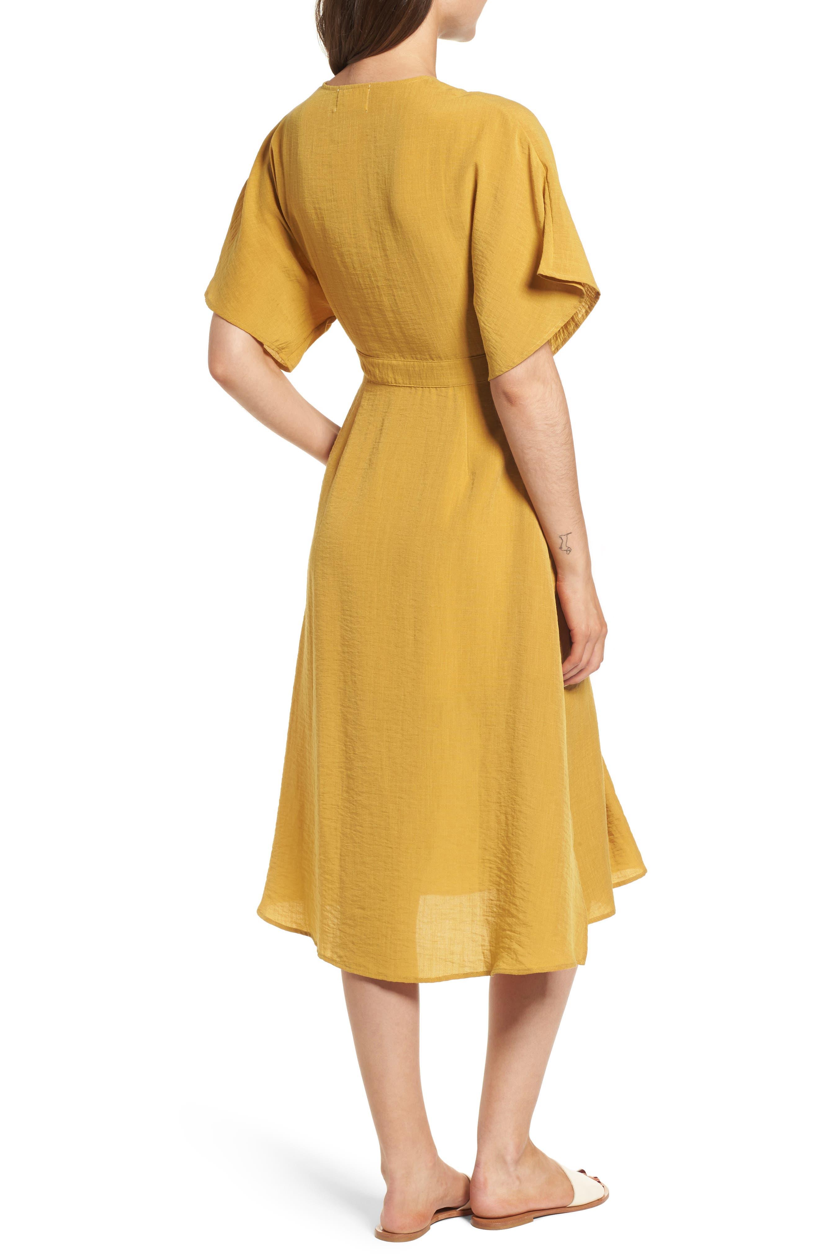 Poppy Button Front Midi Dress,                             Alternate thumbnail 3, color,                             Mustard