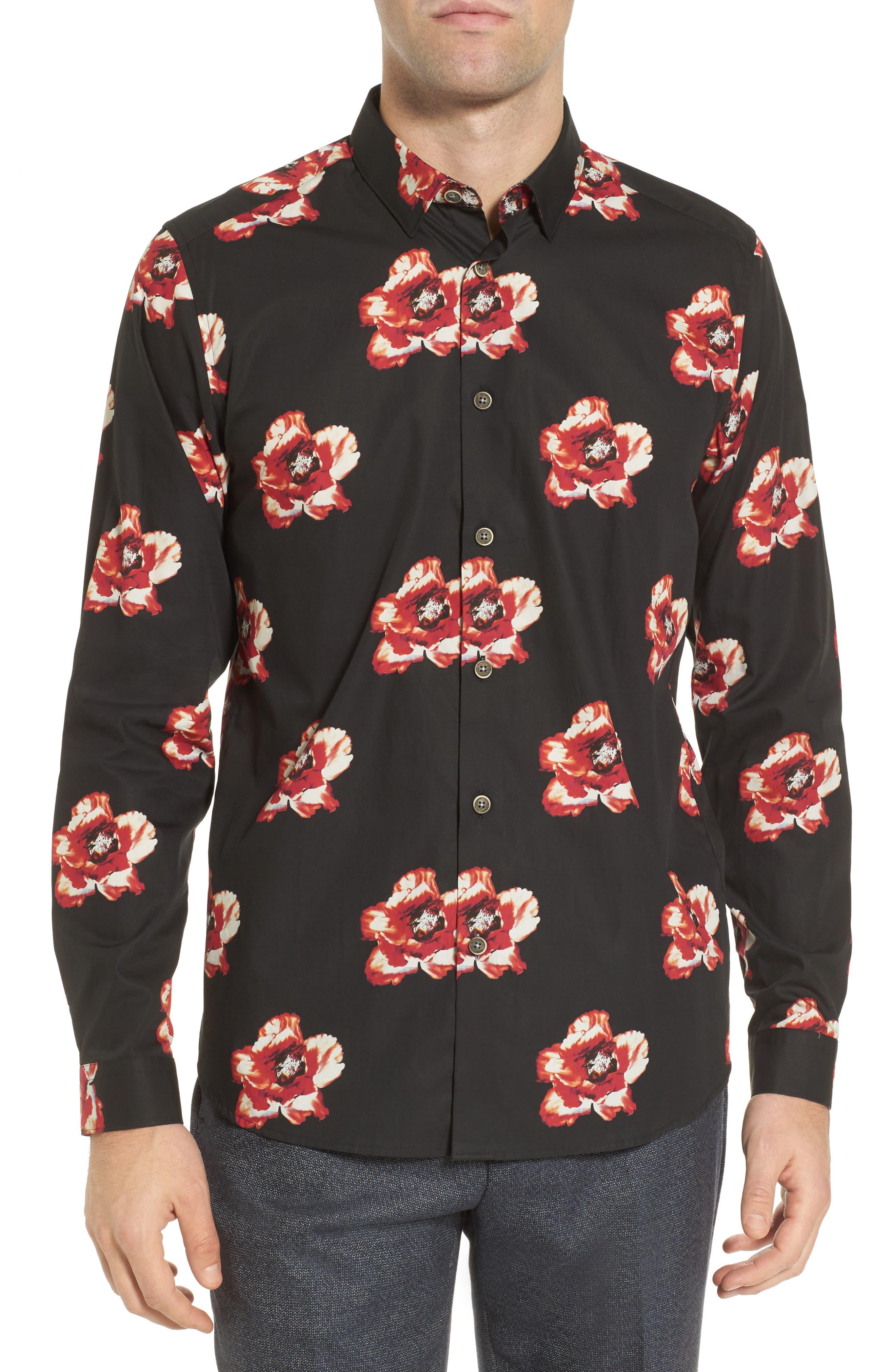 Lilky Trim Fit Floral Sport Shirt,                         Main,                         color, Navy