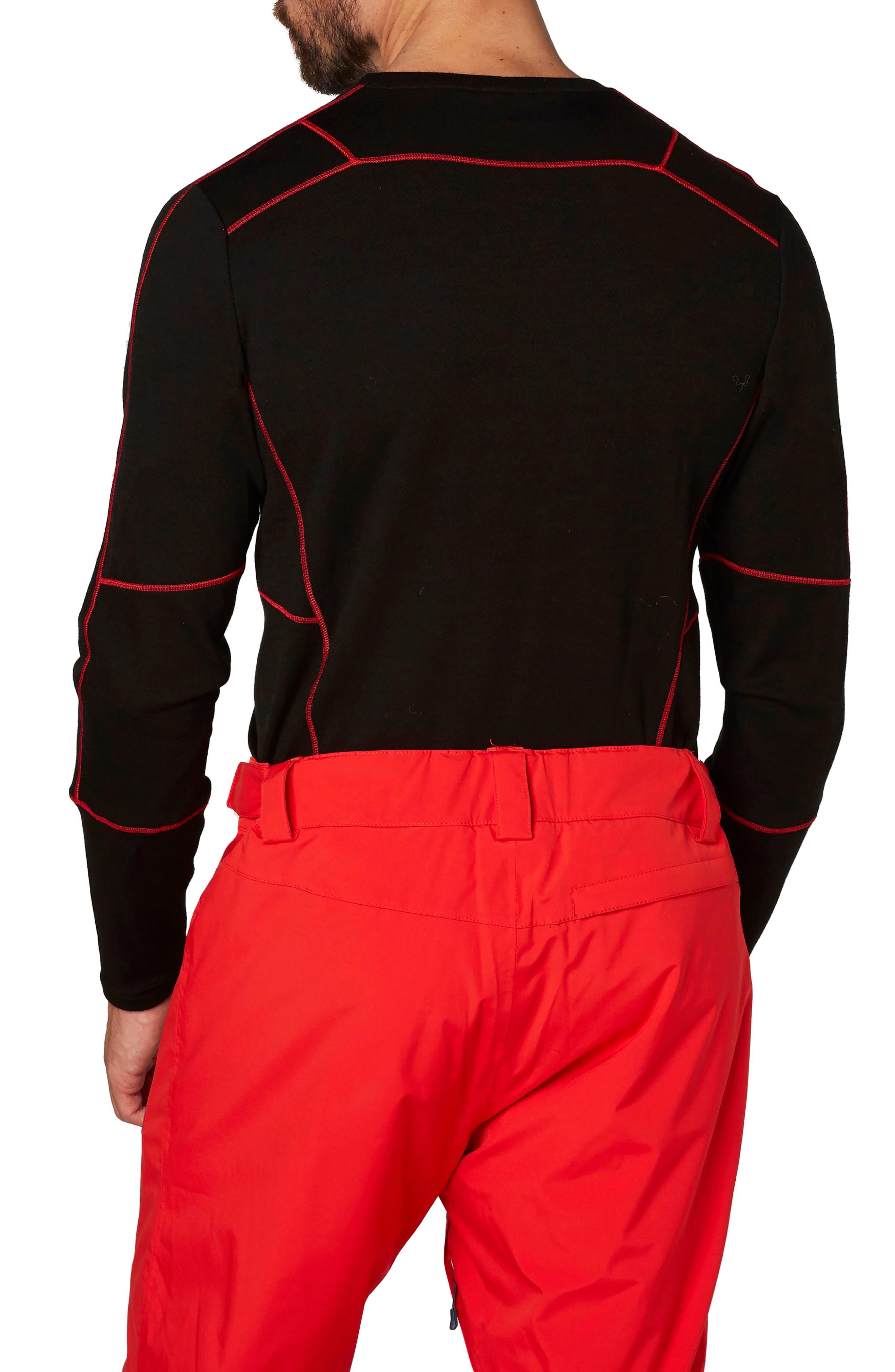 HH<sup>®</sup> Lifa Merino Max Crewneck Pullover,                             Alternate thumbnail 2, color,                             Black / Flag Red