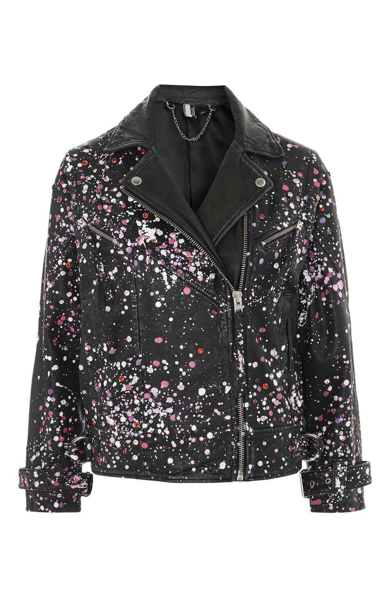 Eddie Rhinestone & Paint Splatter Leather Biker Jacket,                             Alternate thumbnail 5, color,                             Black Multi