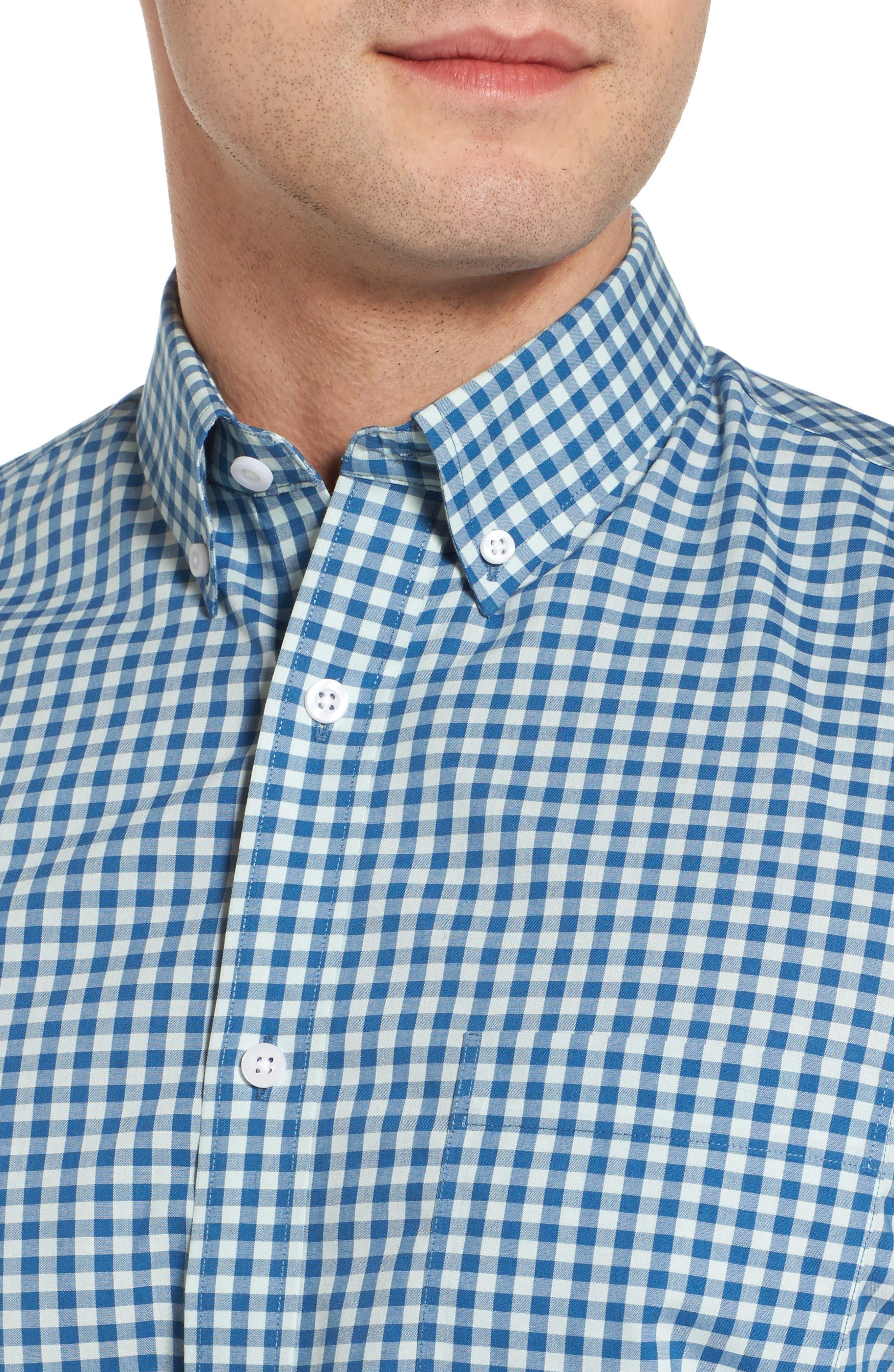 Regular Fit Gingham Sport Shirt,                             Alternate thumbnail 2, color,                             Teal Surf Blue Gingham
