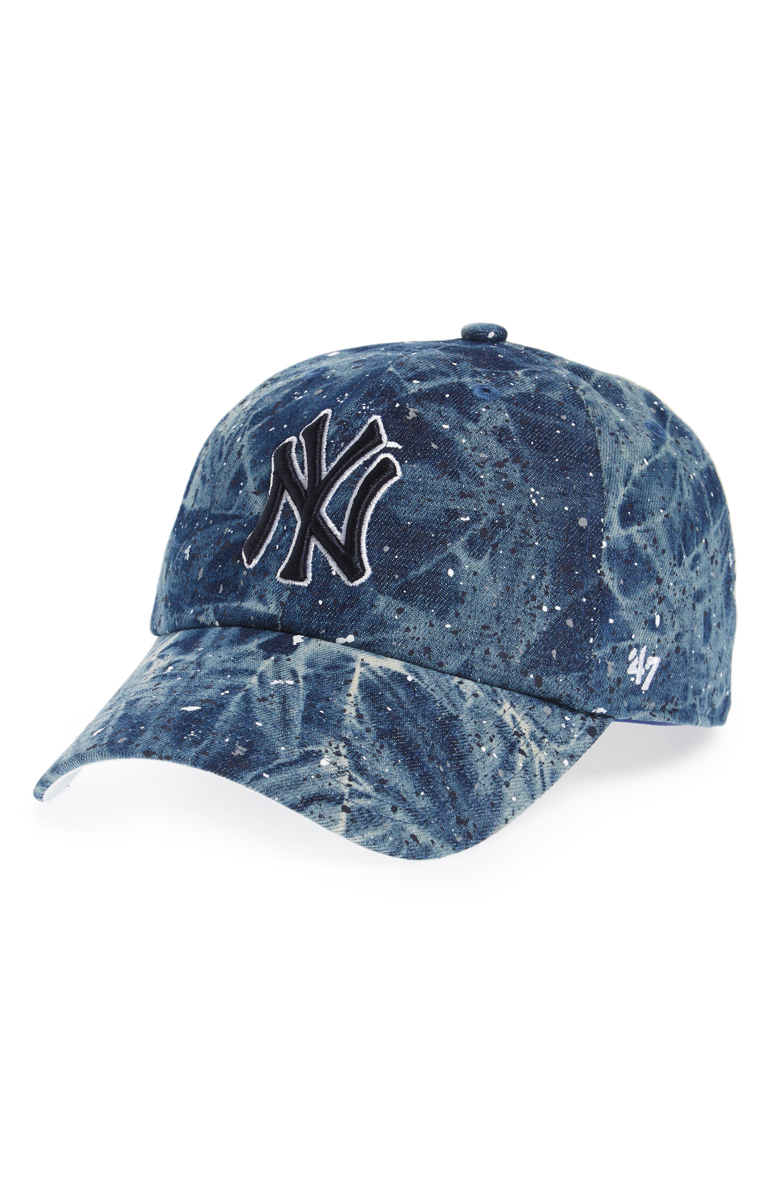 New York Yankees - Blue Splatter Baseball Cap,                             Main thumbnail 1, color,                             Blue