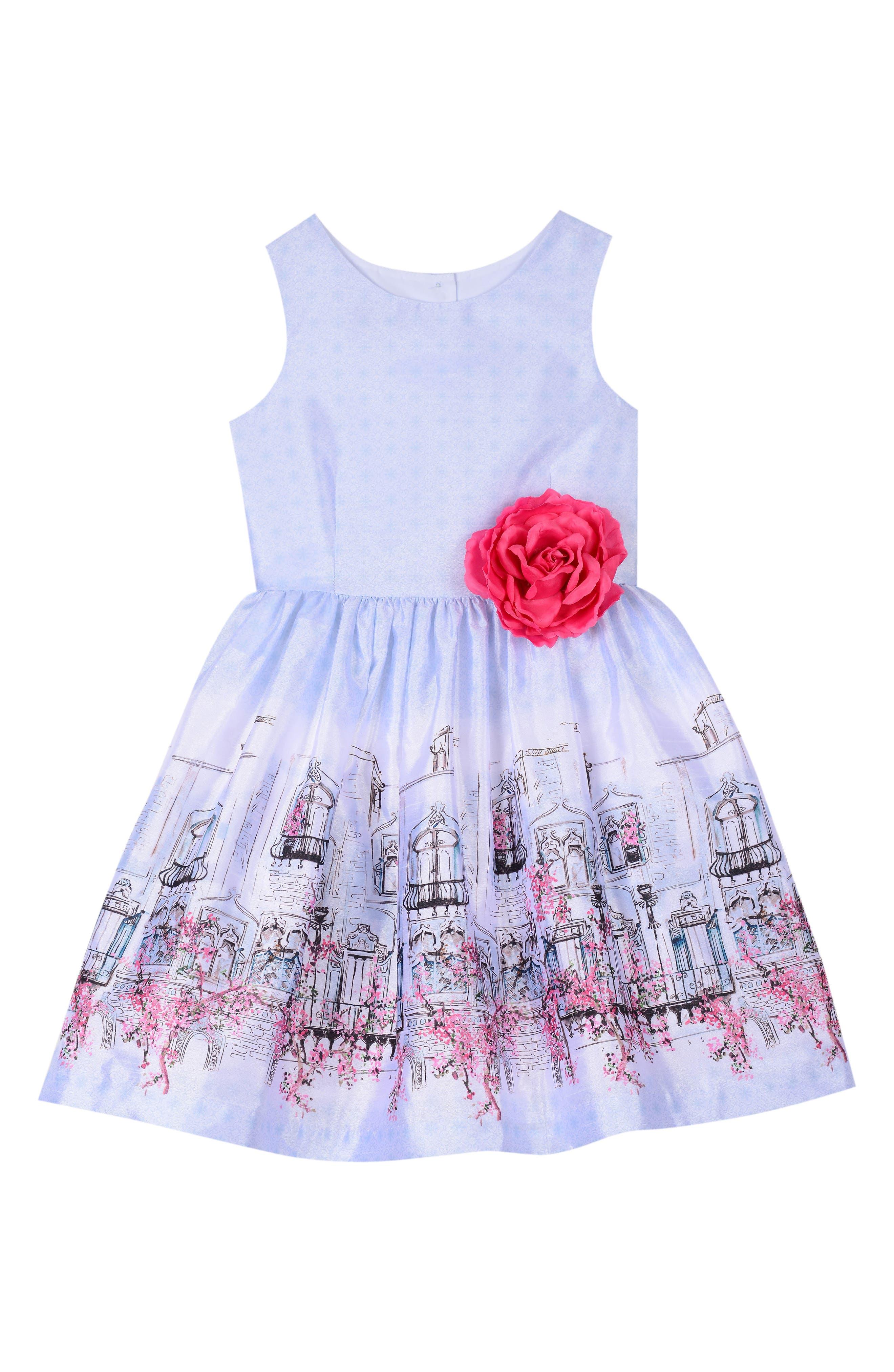 Border Print Sleeveless Dress,                             Main thumbnail 1, color,                             Multi