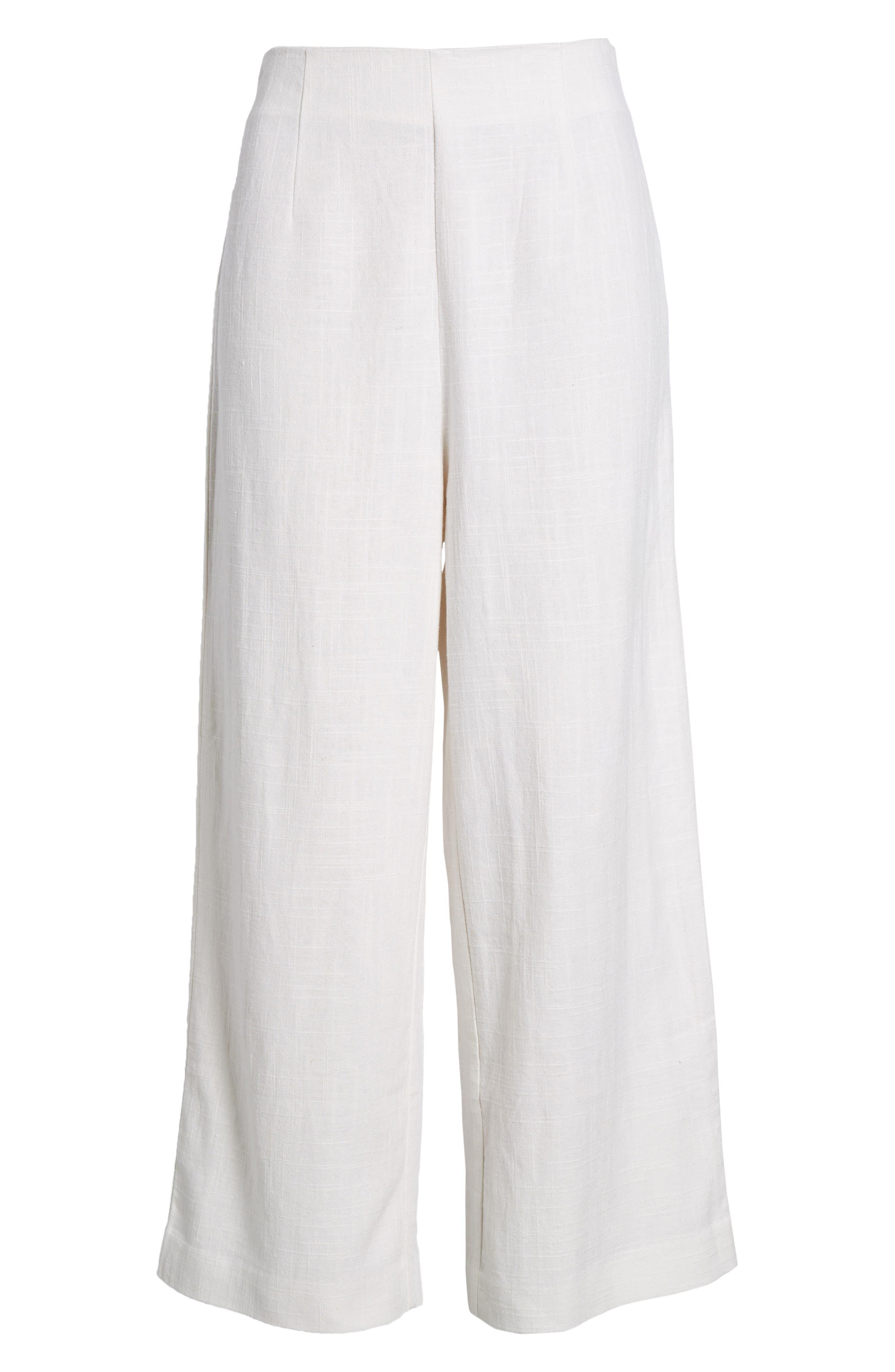 Linen High Waist Crop Pants,                             Alternate thumbnail 8, color,                             White