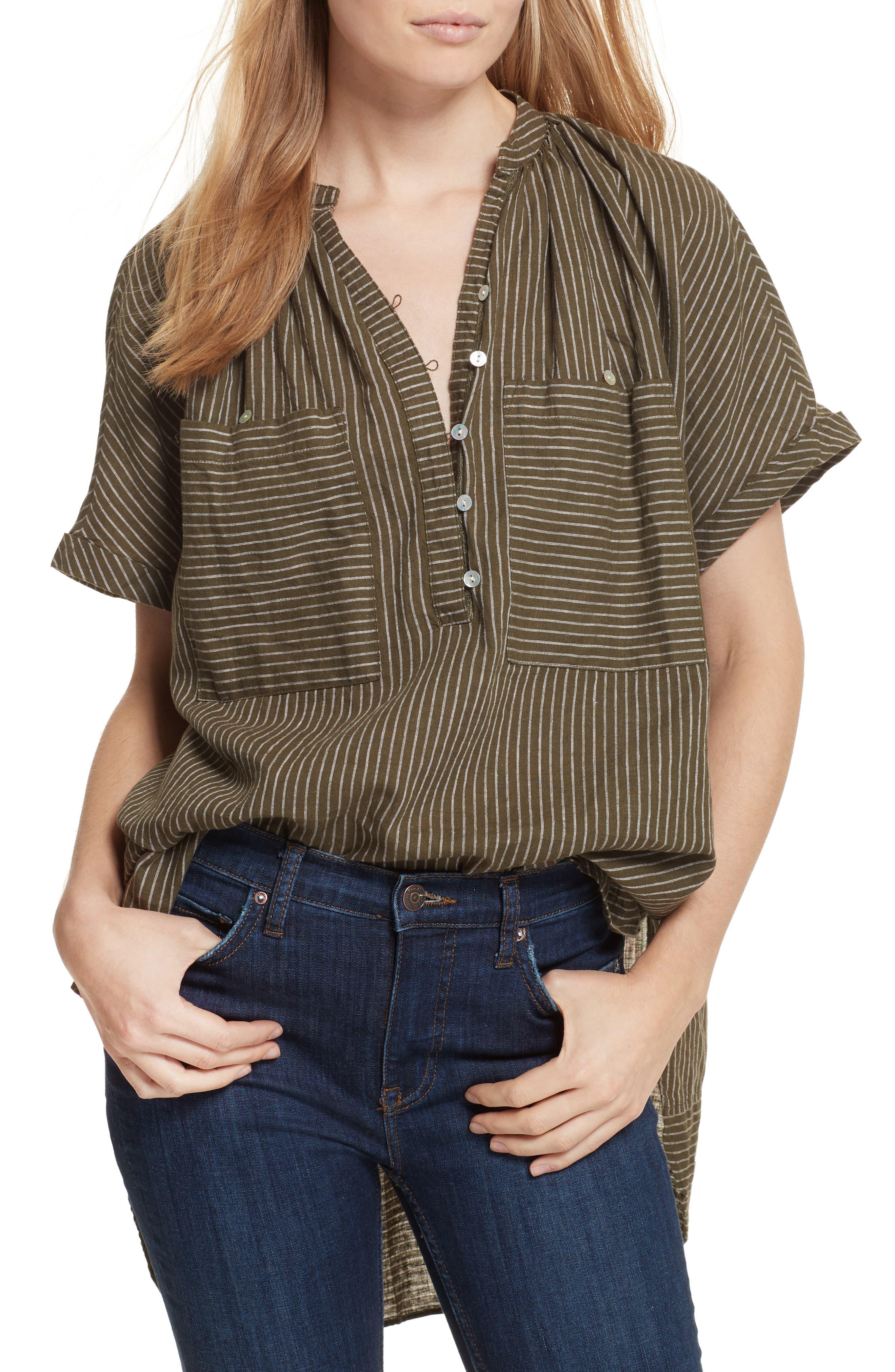 For Keeps Linen Blend Top,                         Main,                         color, Khaki