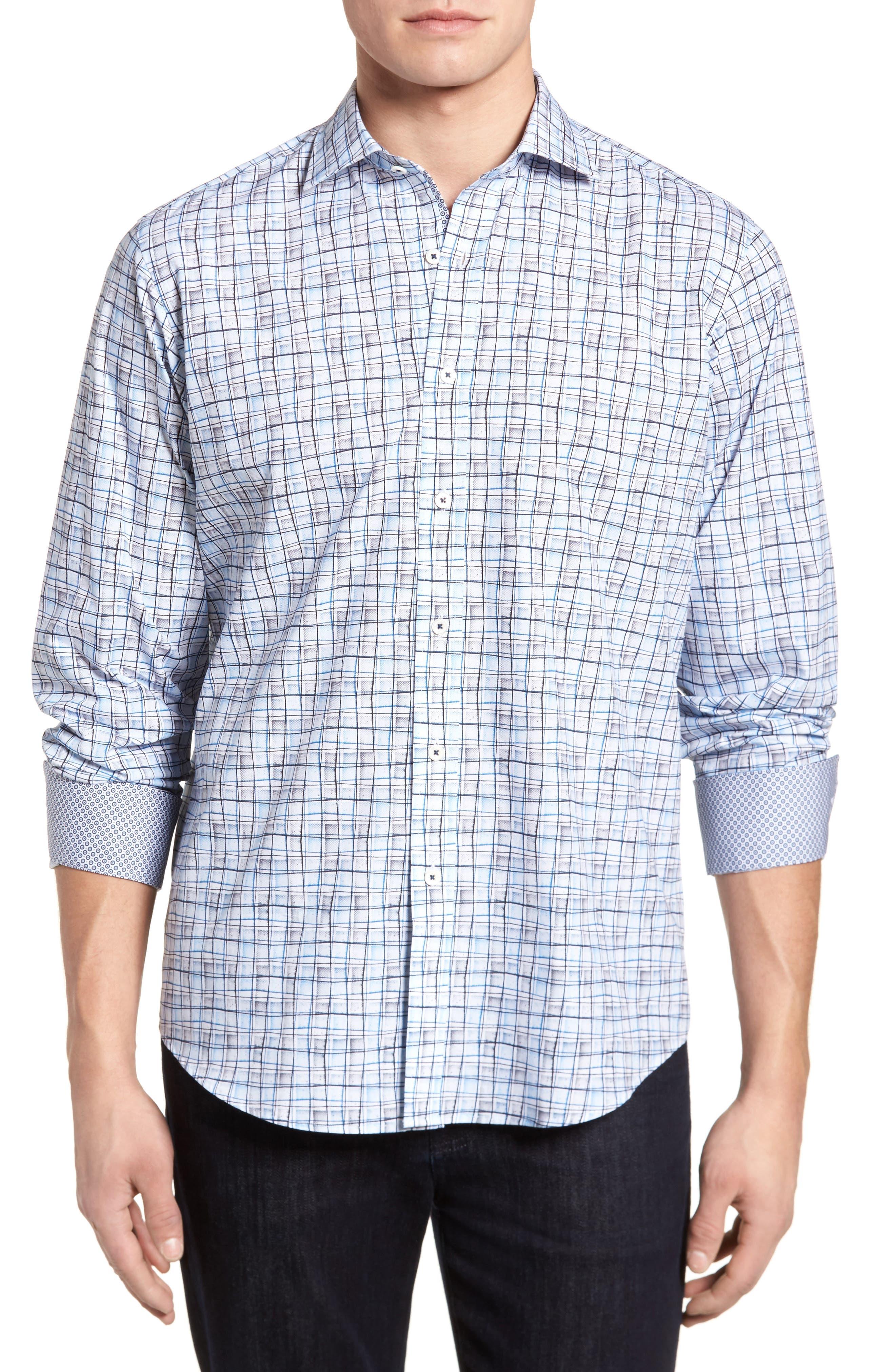 Regular Fit Grid Sport Shirt,                             Main thumbnail 1, color,                             Platinum