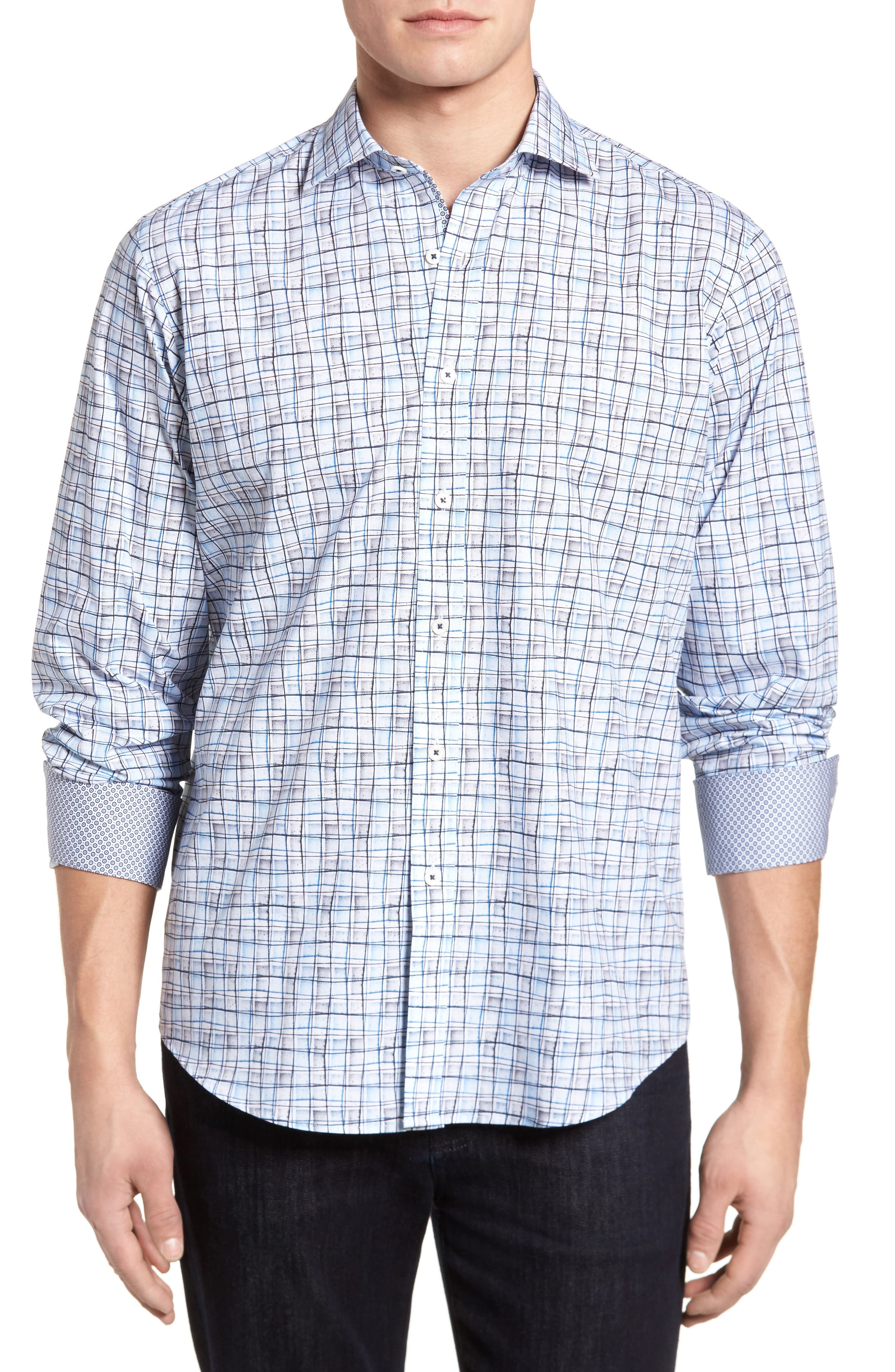 Bugatchi Regular Fit Grid Sport Shirt