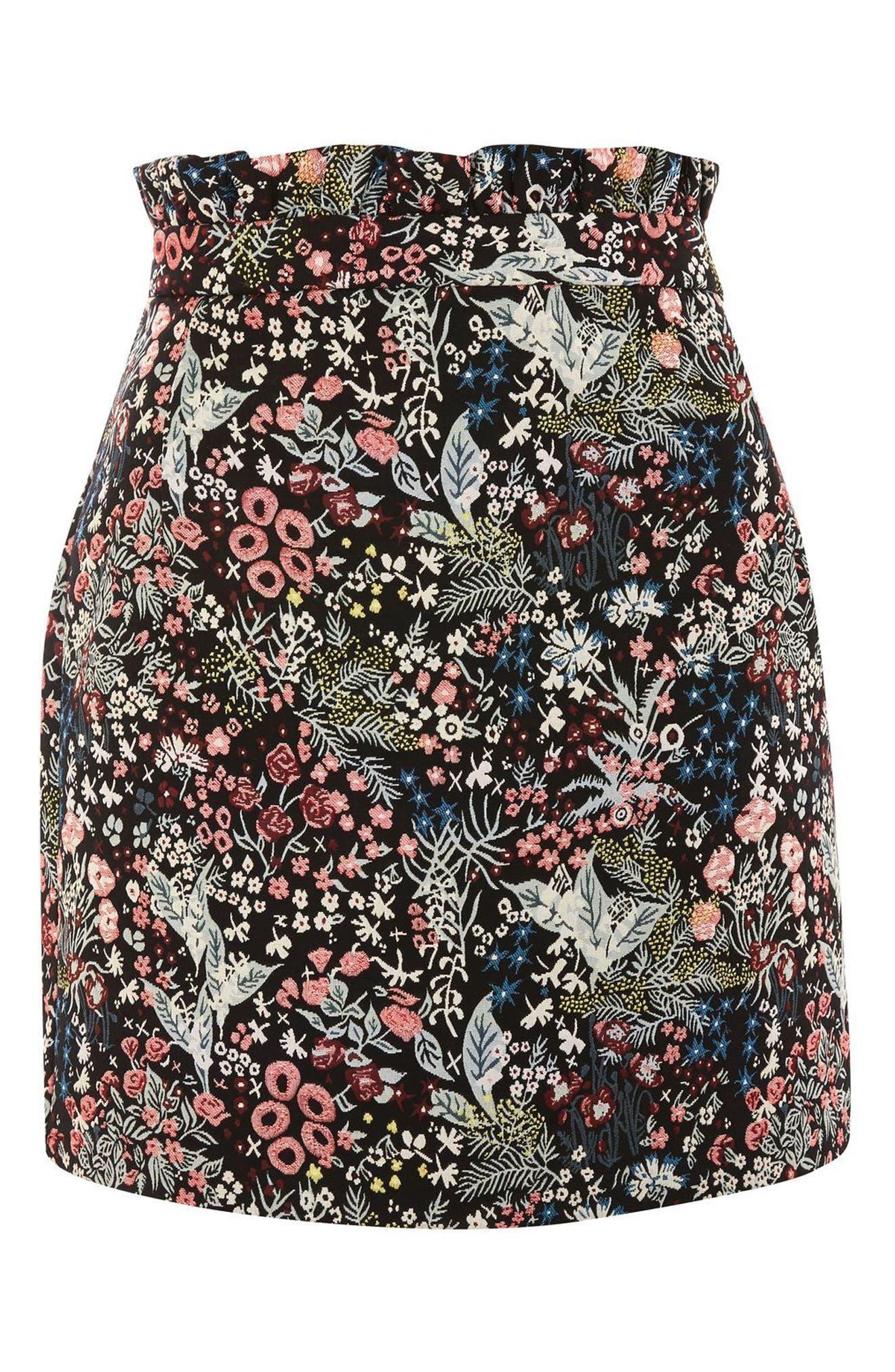 Woodland Jacquard Skirt,                             Alternate thumbnail 4, color,                             Black Multi